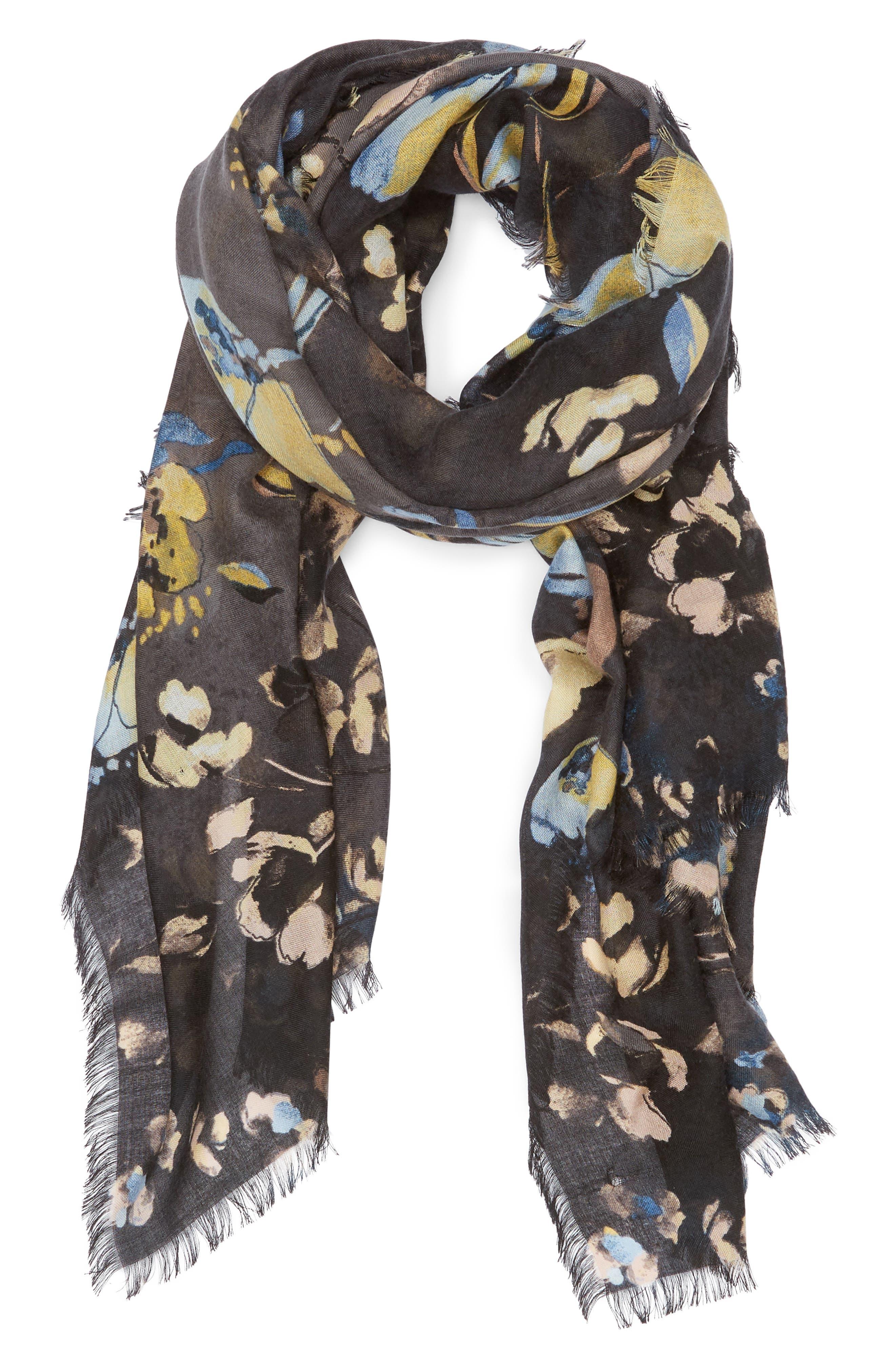 Eyelash Trim Print Cashmere & Silk Wrap,                             Alternate thumbnail 2, color,                             BLACK VINE FLORAL