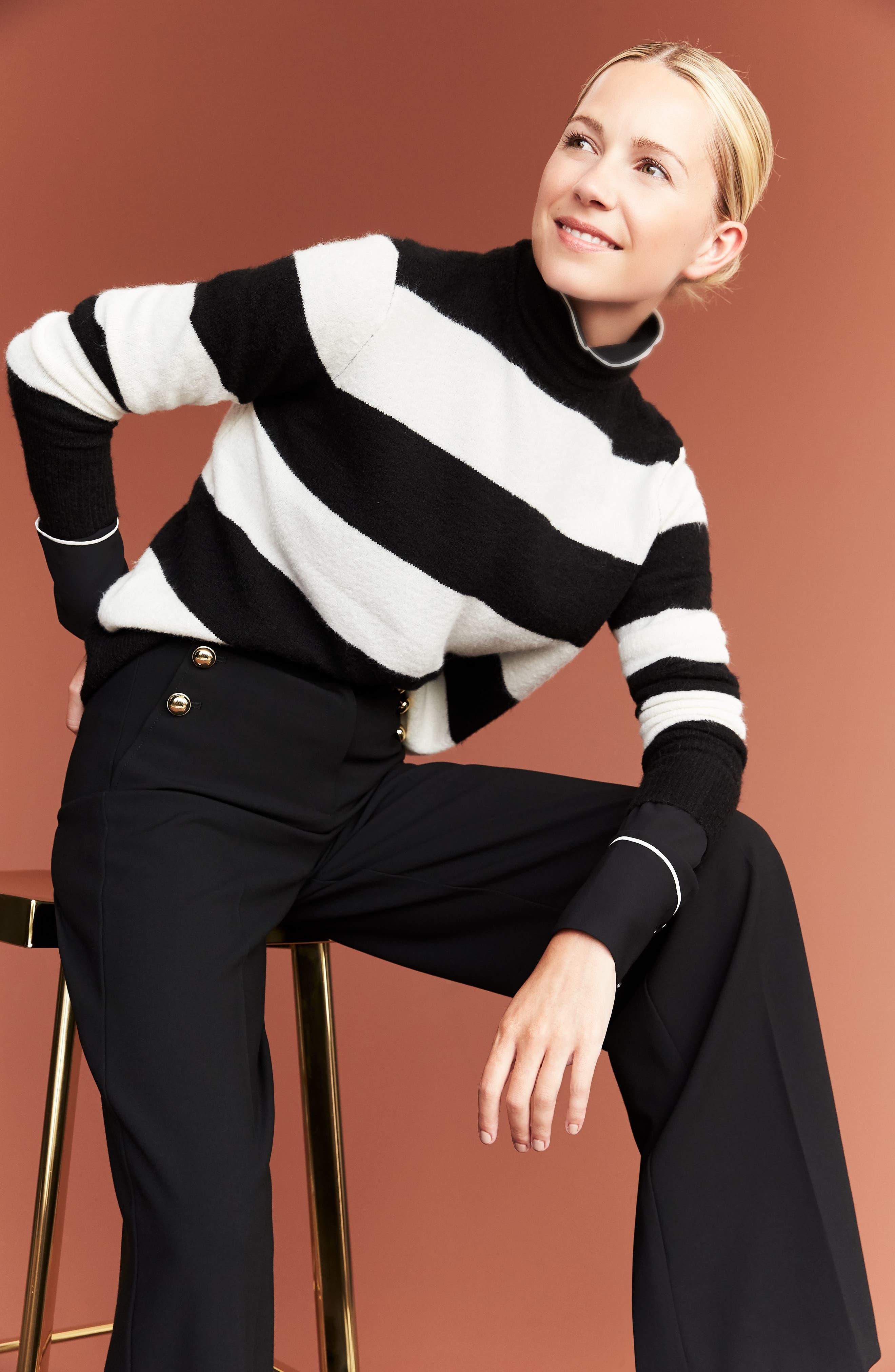 x Atlantic-Pacific Stripe Turtleneck Sweater,                             Alternate thumbnail 2, color,                             BLACK- IVORY STRIPE