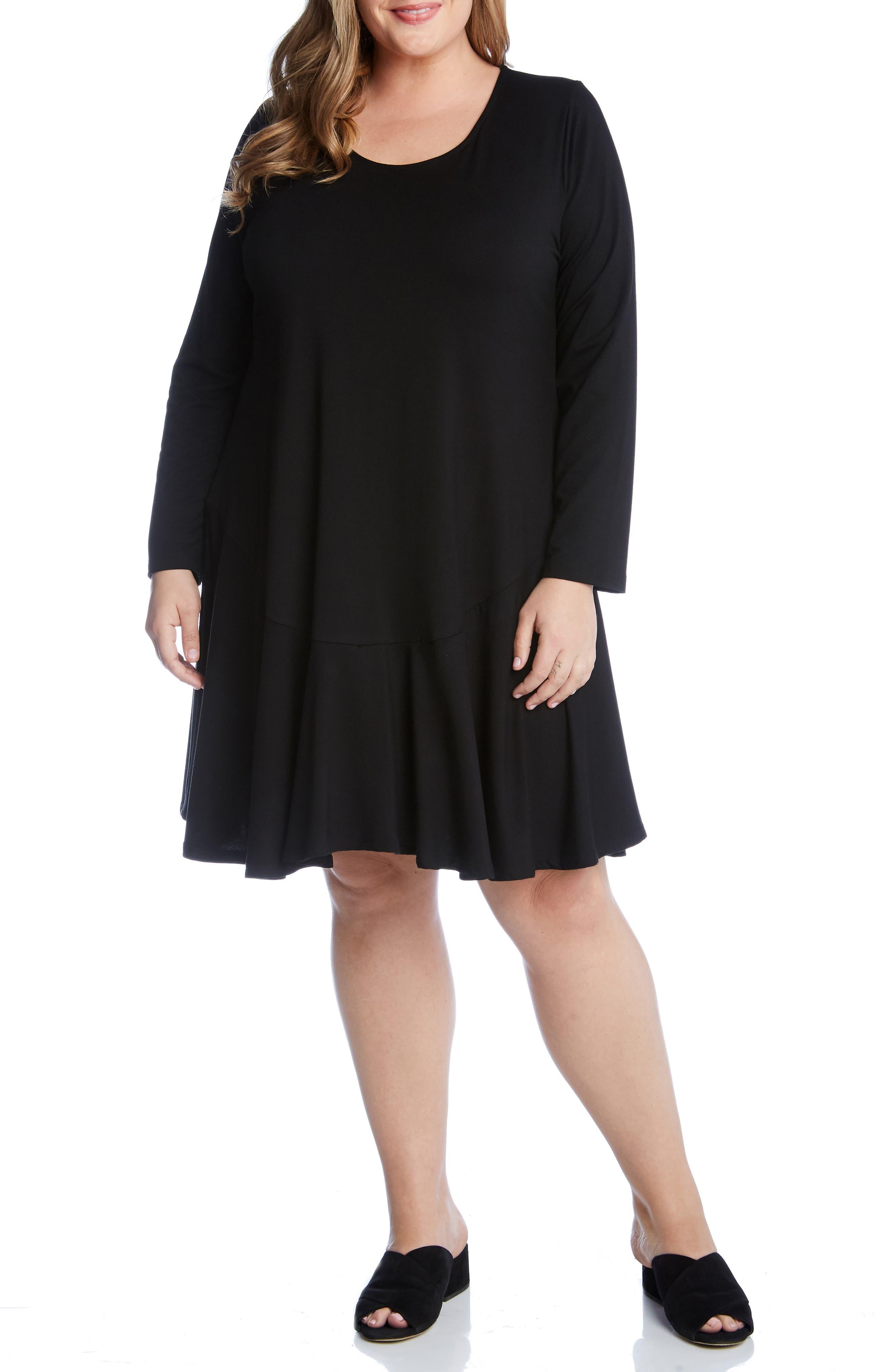 Plus Size Karen Kane Dakota Swing Dress, Black