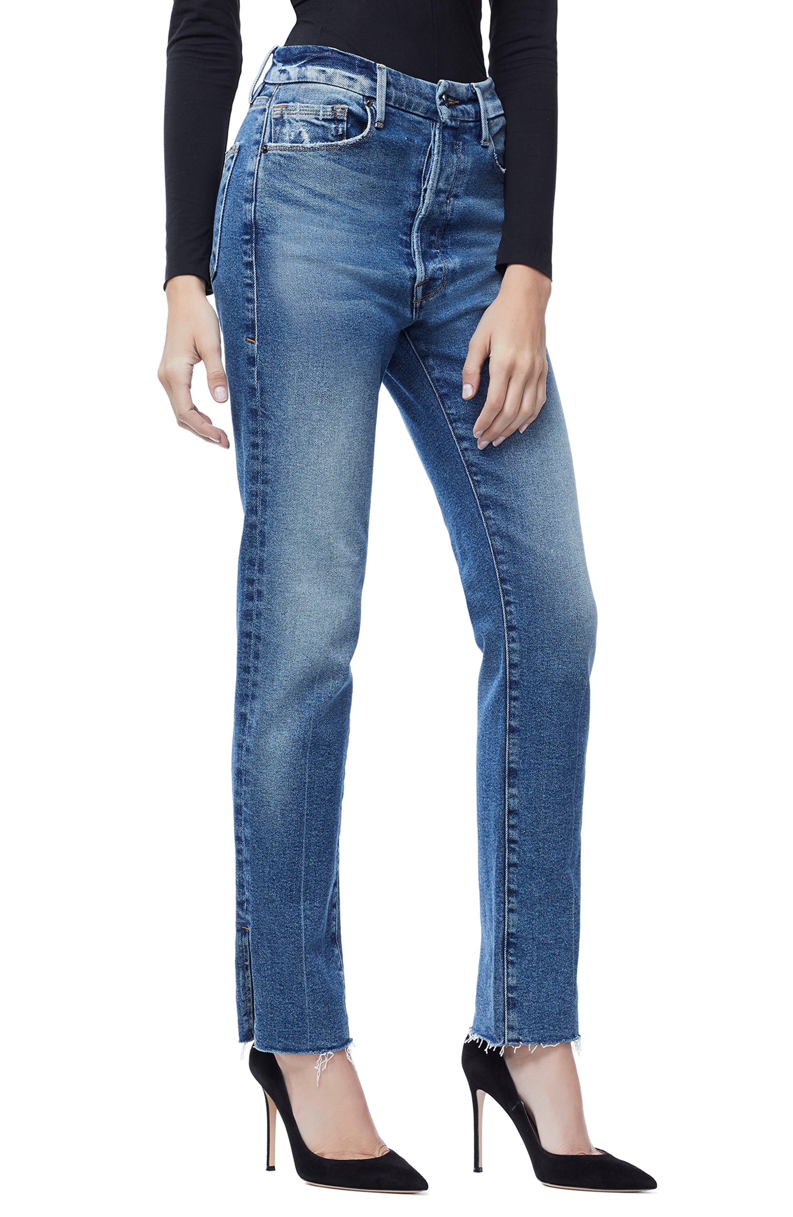Good Boy Raw Hem Boyfriend Jeans,                             Alternate thumbnail 4, color,                             BLUE 176