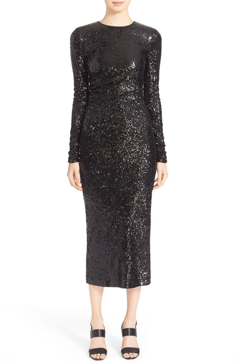 Donna Karan New York Ruched Sequin Long Sleeve Dress