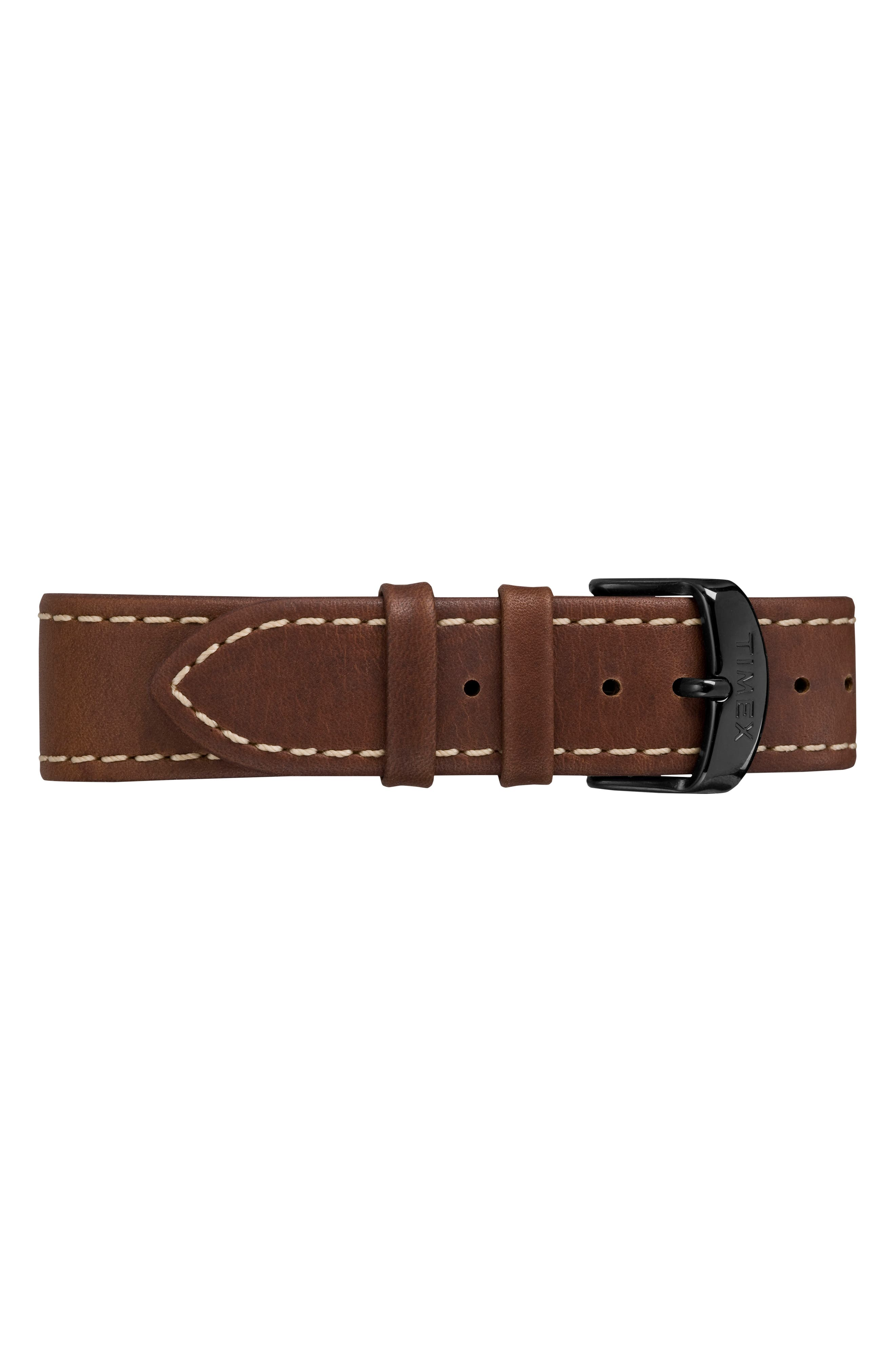 Waterbury Leather Strap Watch, 40mm,                             Alternate thumbnail 3, color,                             BROWN/ BLUE/ GUNMETAL