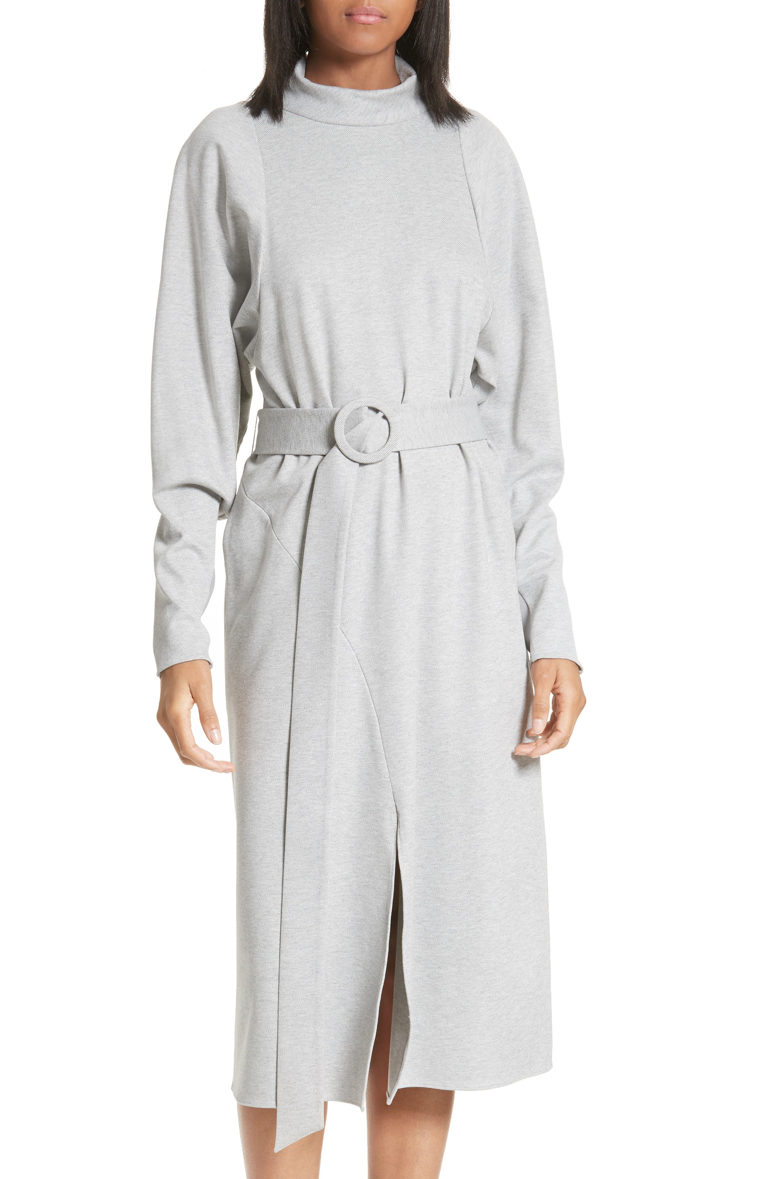 Dolman Sleeve Stretch Twill Midi Dress,                             Alternate thumbnail 5, color,                             020
