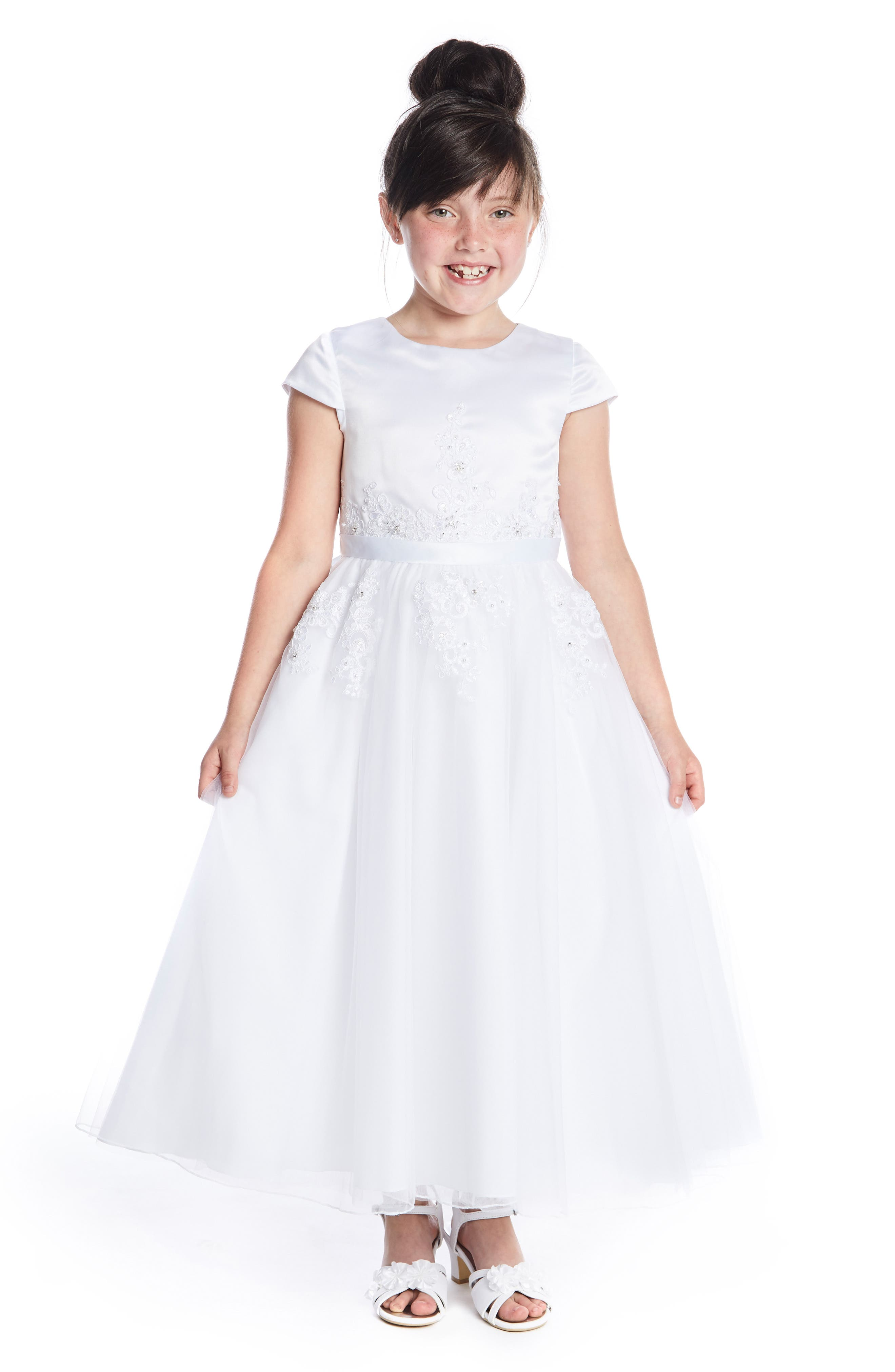 LAUREN MARIE,                             Beaded Lace First Communion Dress,                             Alternate thumbnail 2, color,                             WHITE