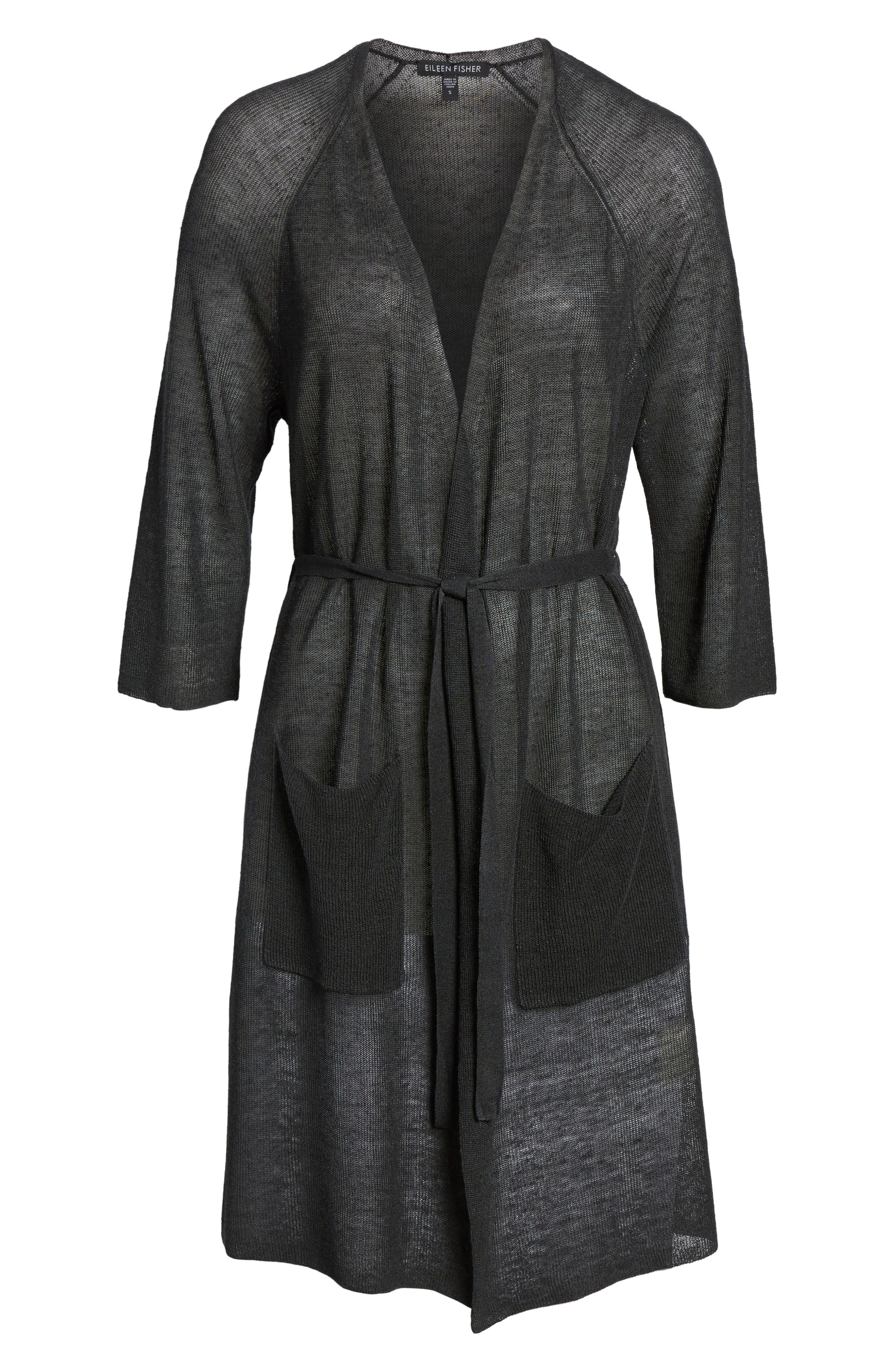 Long Organic Linen Blend Kimono Cardigan,                             Alternate thumbnail 6, color,                             025