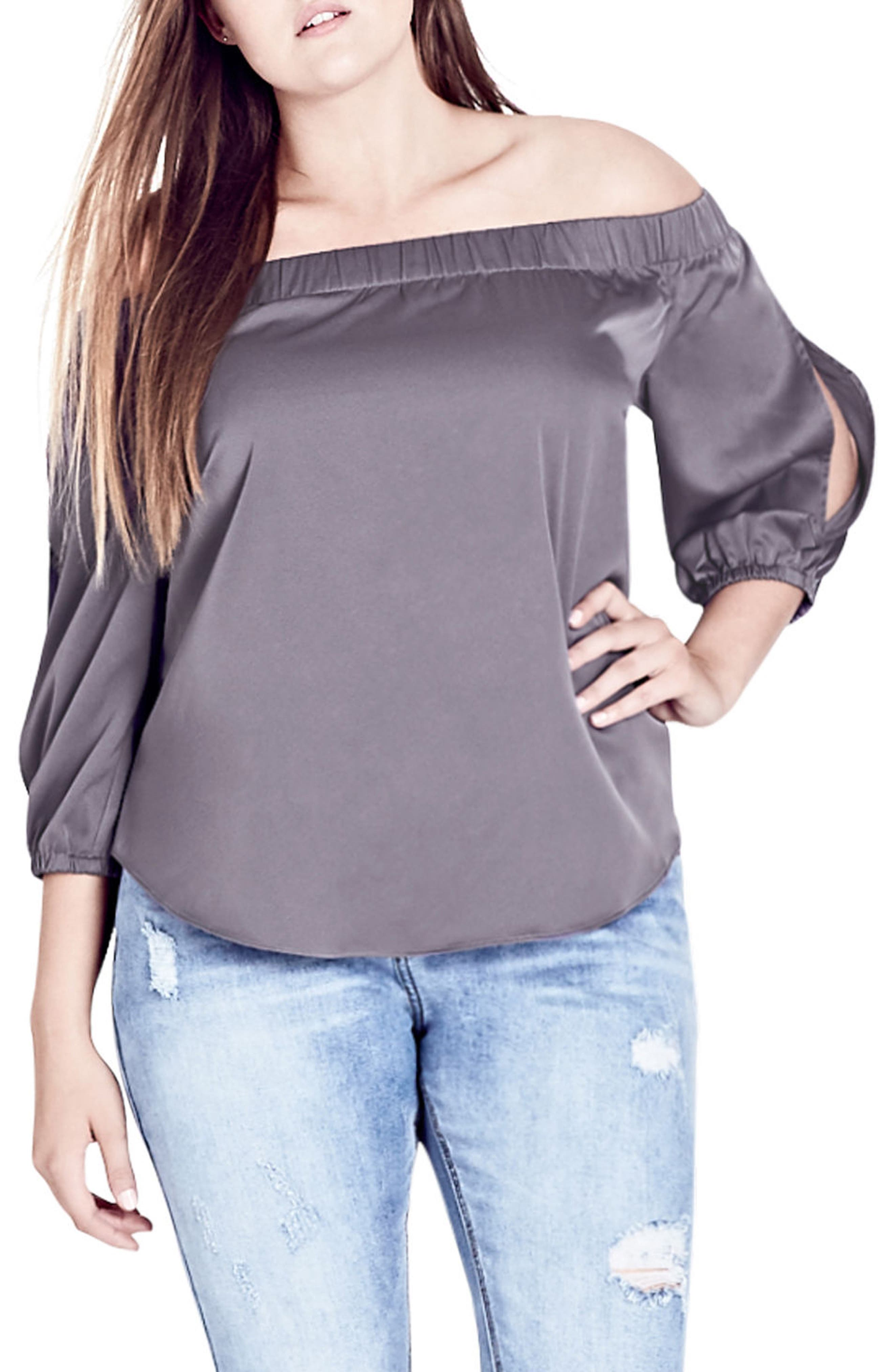Off the Shoulder Satin Top,                             Main thumbnail 1, color,                             STEELE