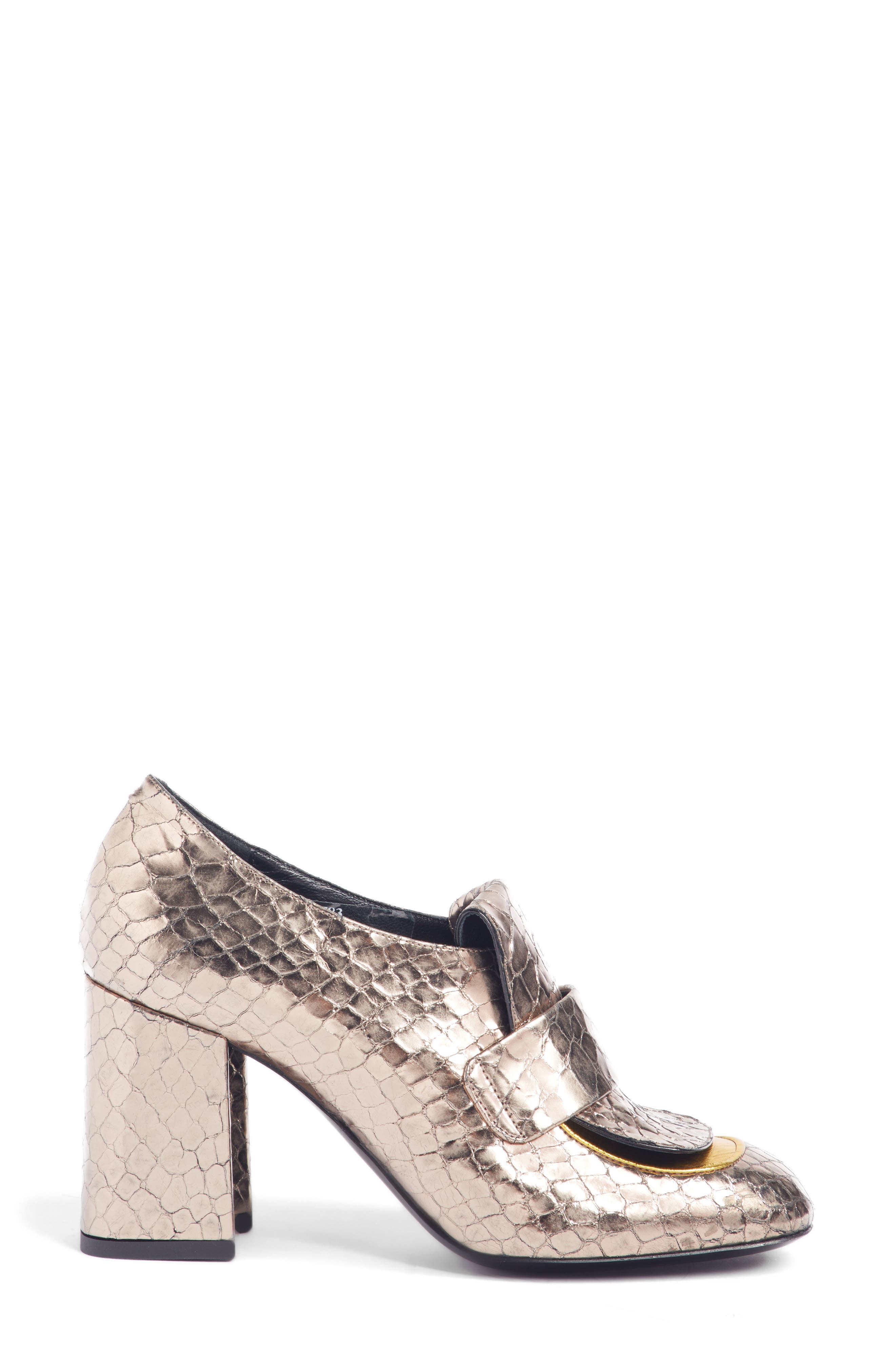 Reptile Loafer Pump,                             Alternate thumbnail 3, color,                             SILVER