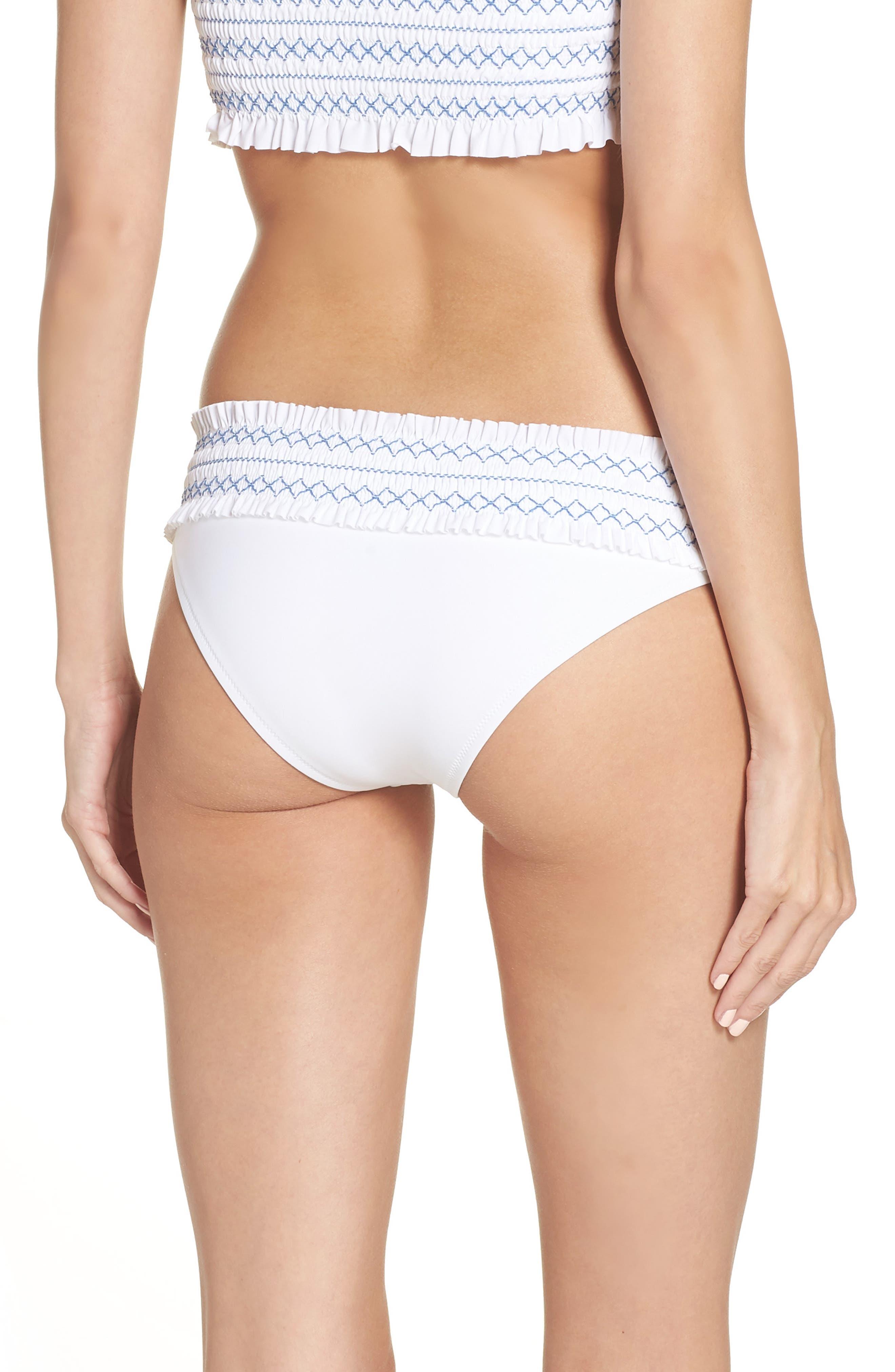 Costa Smocked Hipster Bikini Bottoms,                             Alternate thumbnail 2, color,                             WHITE / BLUE DUSK