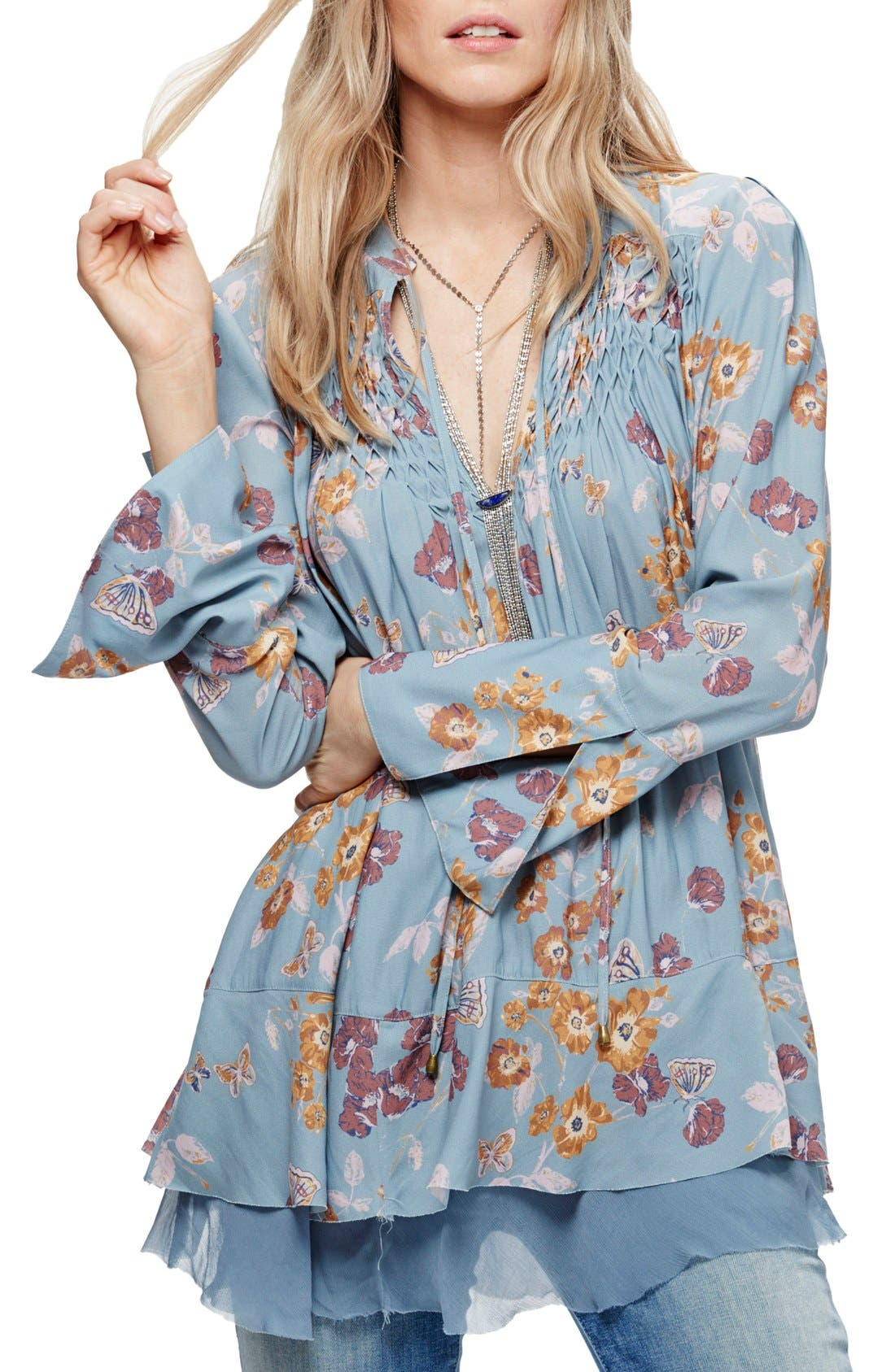 Floral Print Smocked Tunic,                             Main thumbnail 1, color,                             400