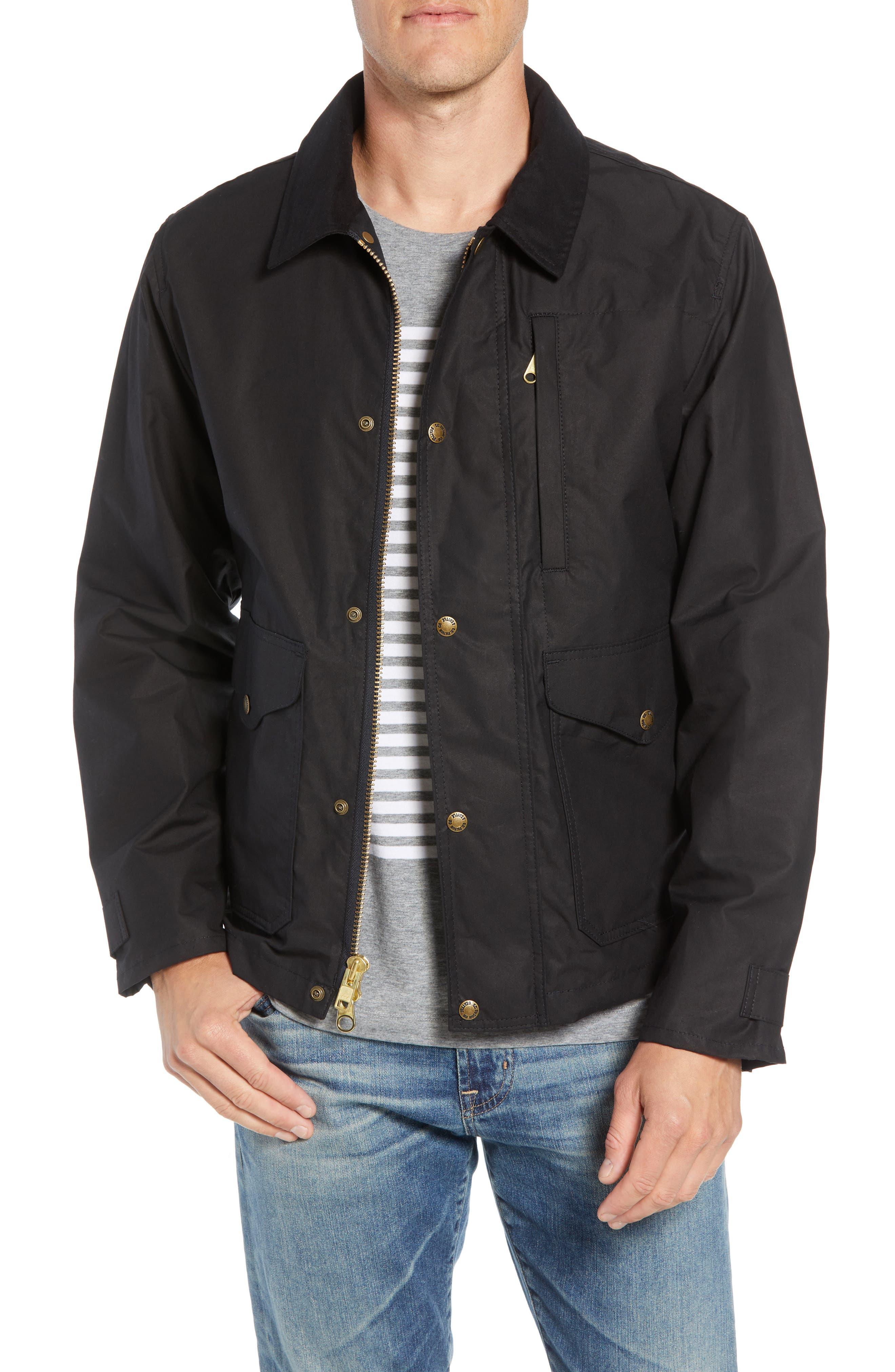 Short Mile Marker Waxed Cotton Jacket,                         Main,                         color, BLACK