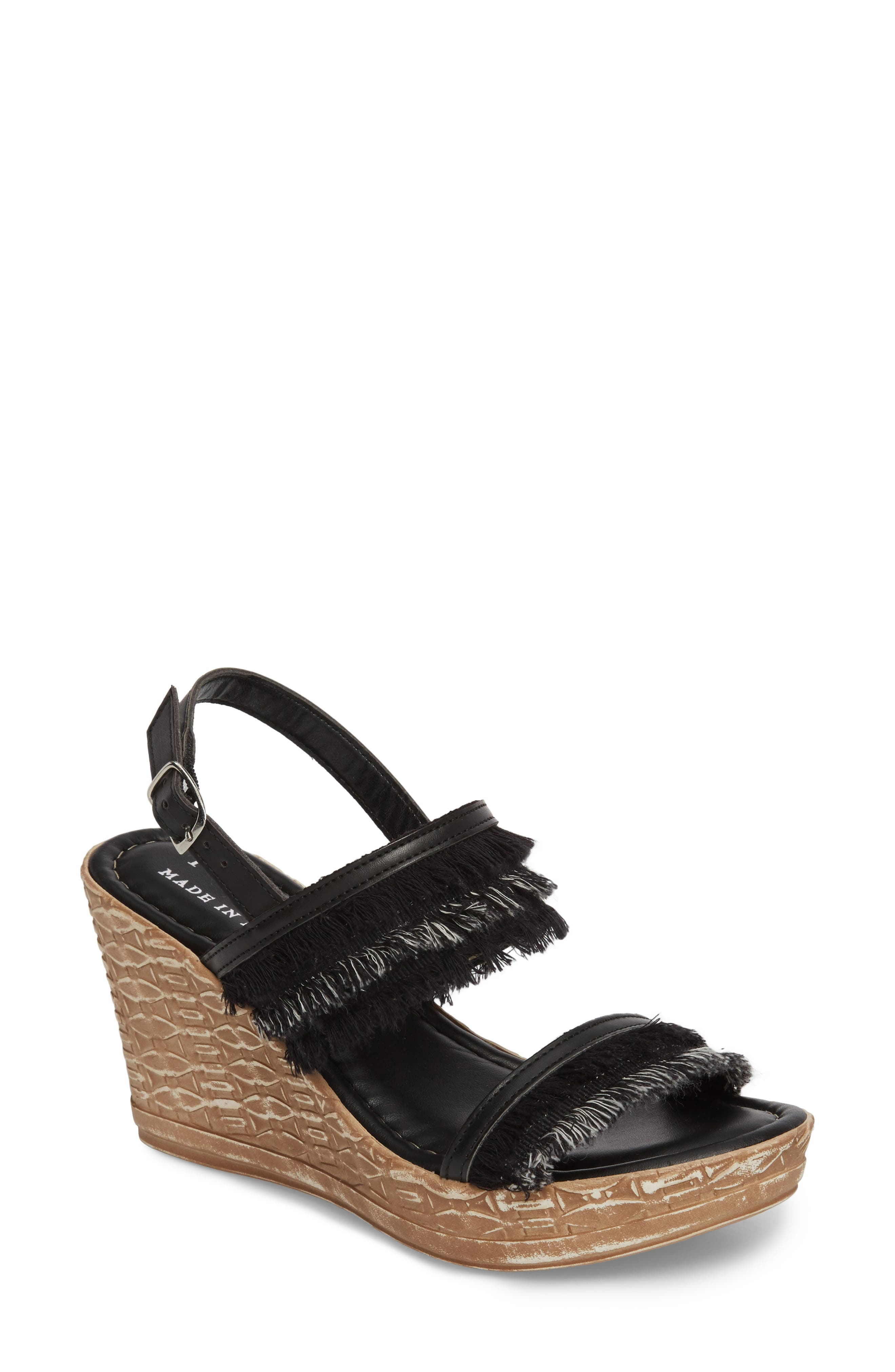 by Easy Street<sup>®</sup> Zaira Wedge Espadrille Sandal,                         Main,                         color, BLACK FAUX LEATHER