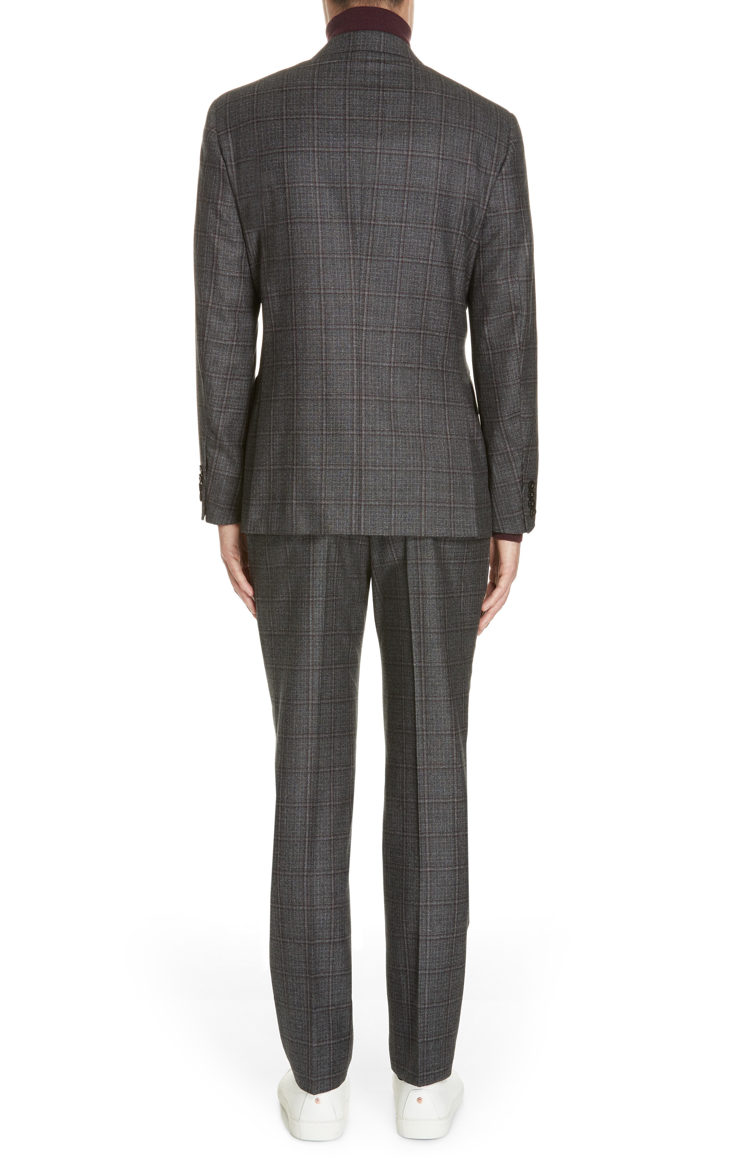 Trim Fit Plaid Wool Suit,                             Alternate thumbnail 2, color,                             GREY/ BURGUNDY