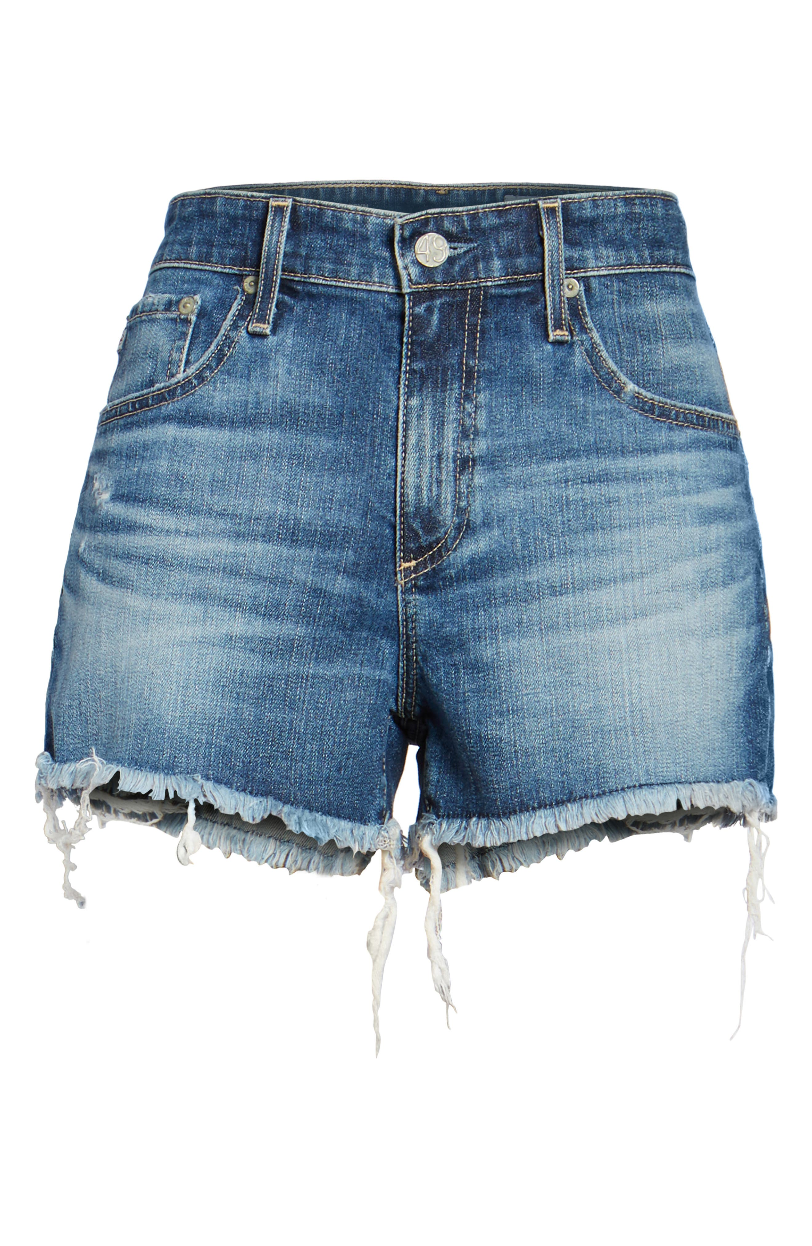 Bryn High Rise Cutoff Denim Shorts,                             Alternate thumbnail 7, color,                             15Y BLUE DELUGE