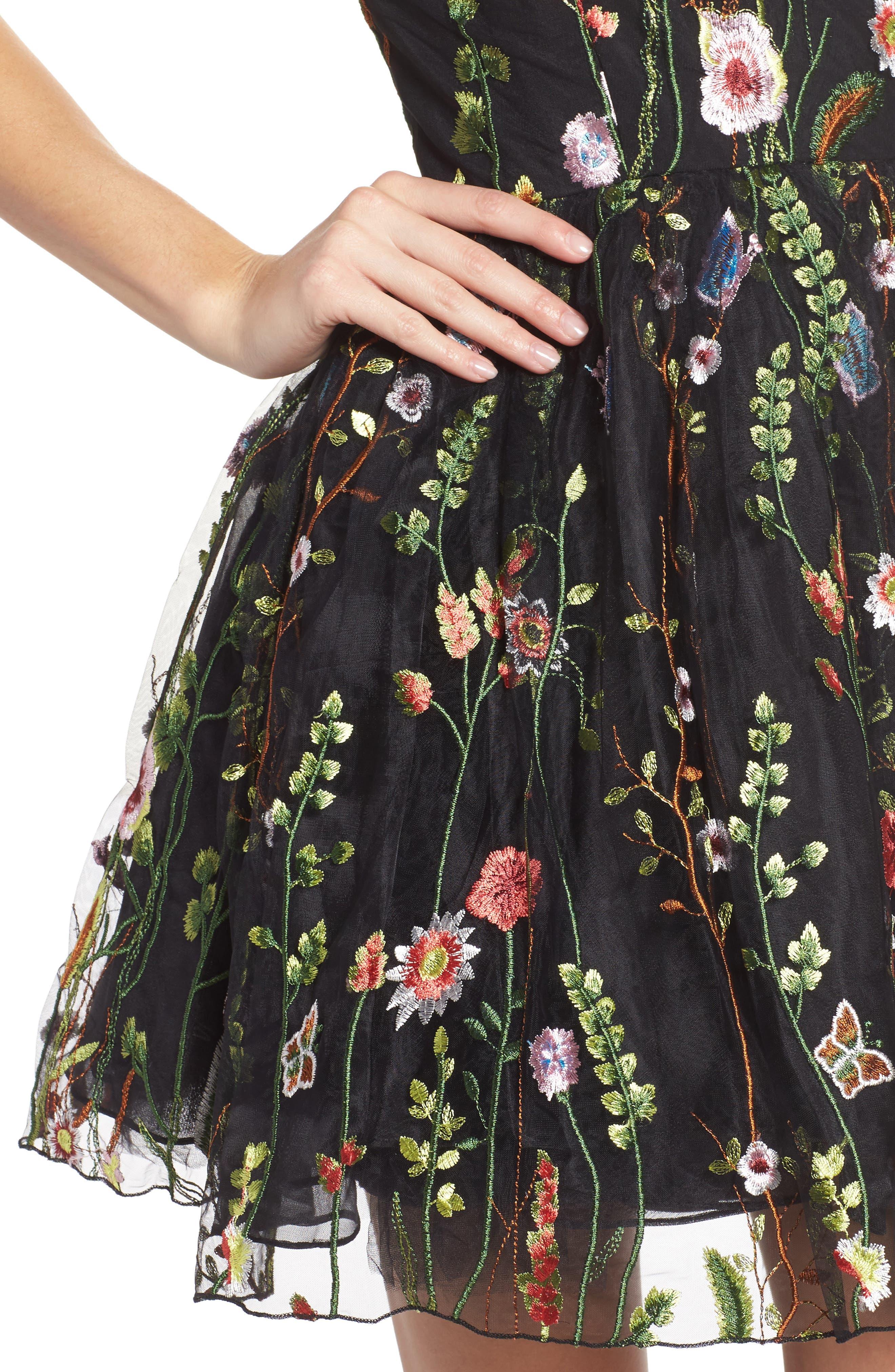 Embroidered Skater Dress,                             Alternate thumbnail 4, color,                             BLACK/MULTI