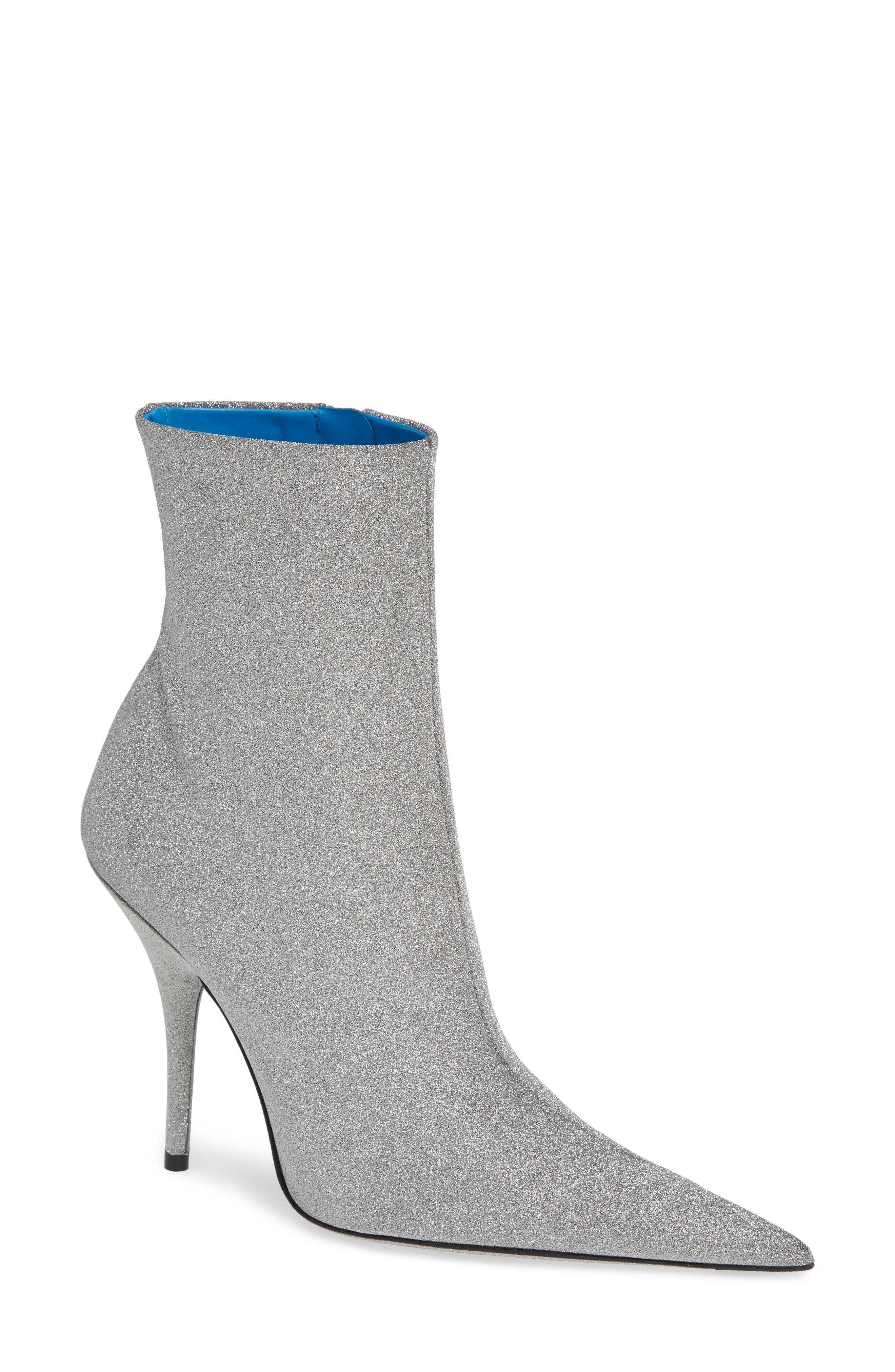 Knife Glitter Ankle Boots - Gray Size 7