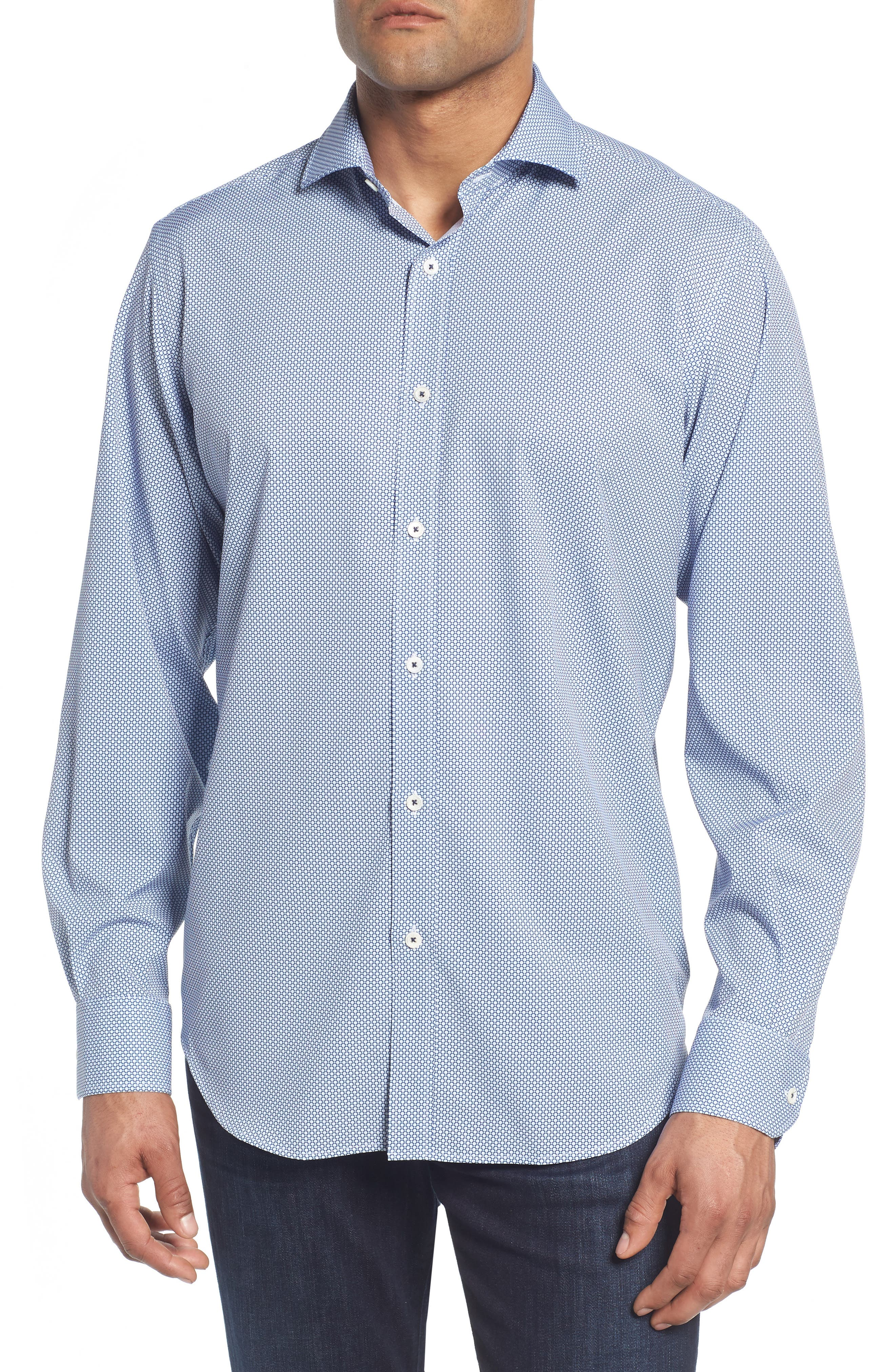 BUGATCHI Classic Fit Stacked Circles Performance Sport Shirt, Main, color, NAVY