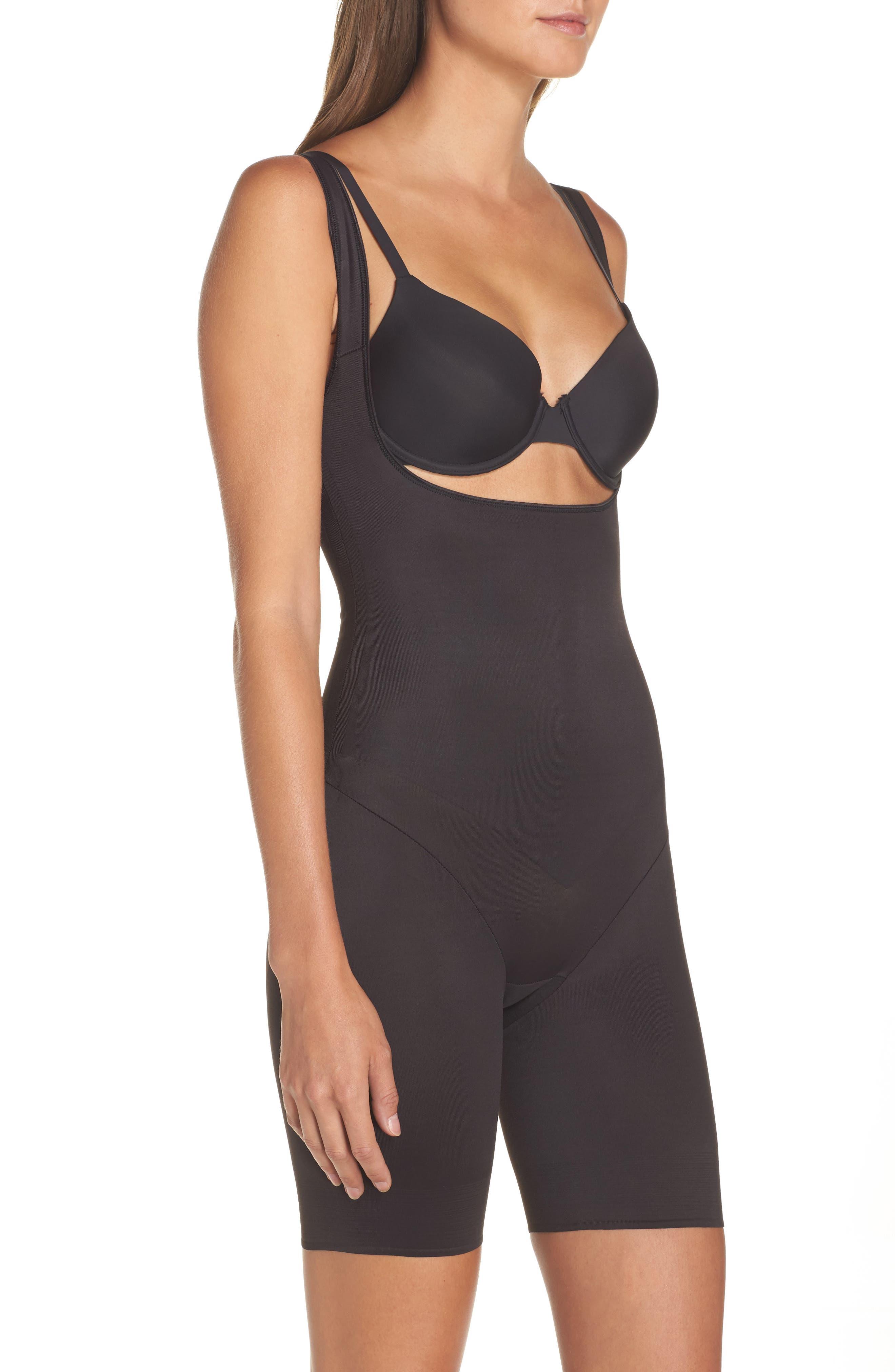 Torsette Underbust Mid Thigh Bodysuit Shaper,                             Alternate thumbnail 4, color,                             BLACK