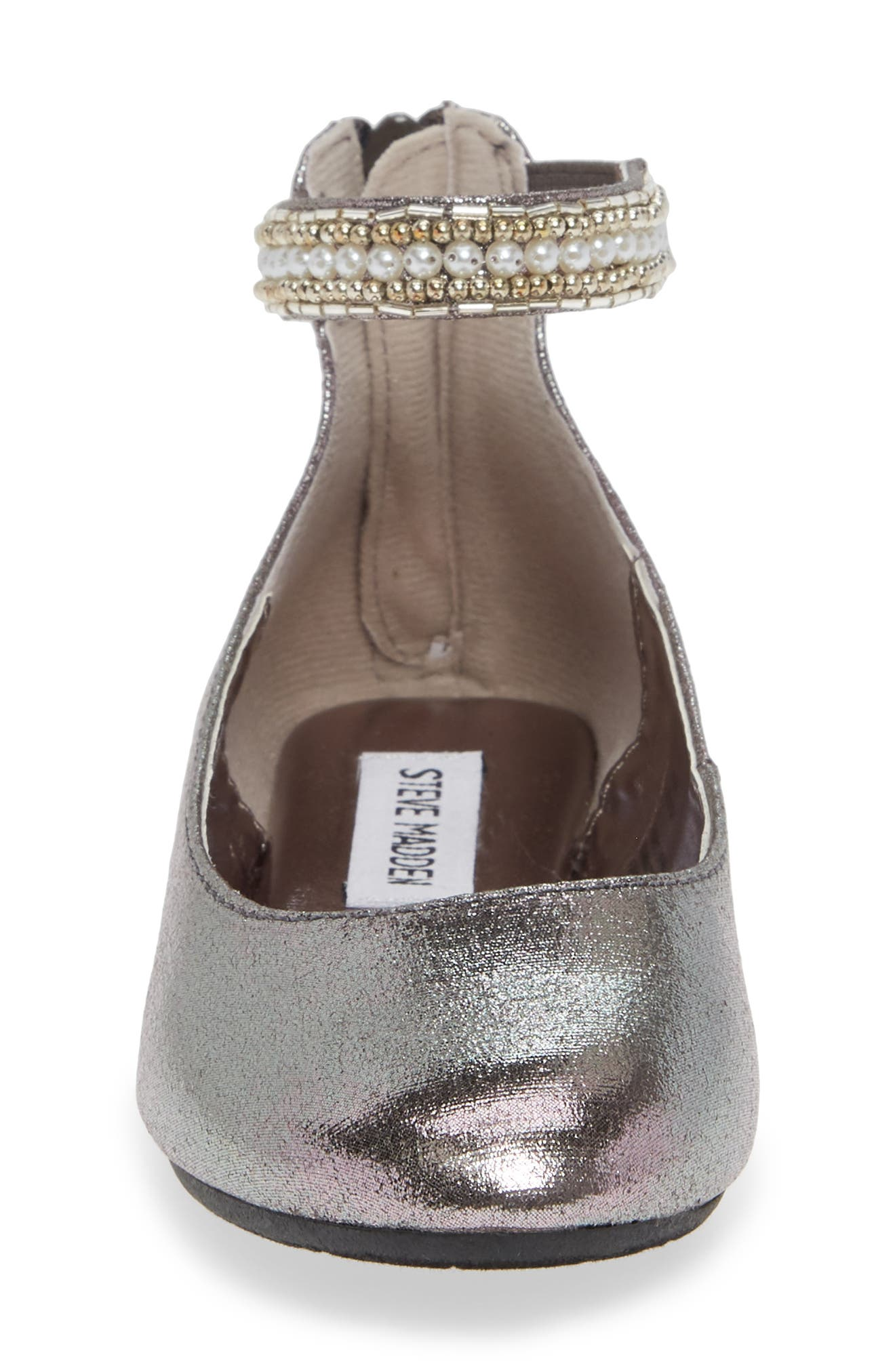 'Jziler' Sequined Round Toe Ballet Flat,                             Alternate thumbnail 4, color,                             020