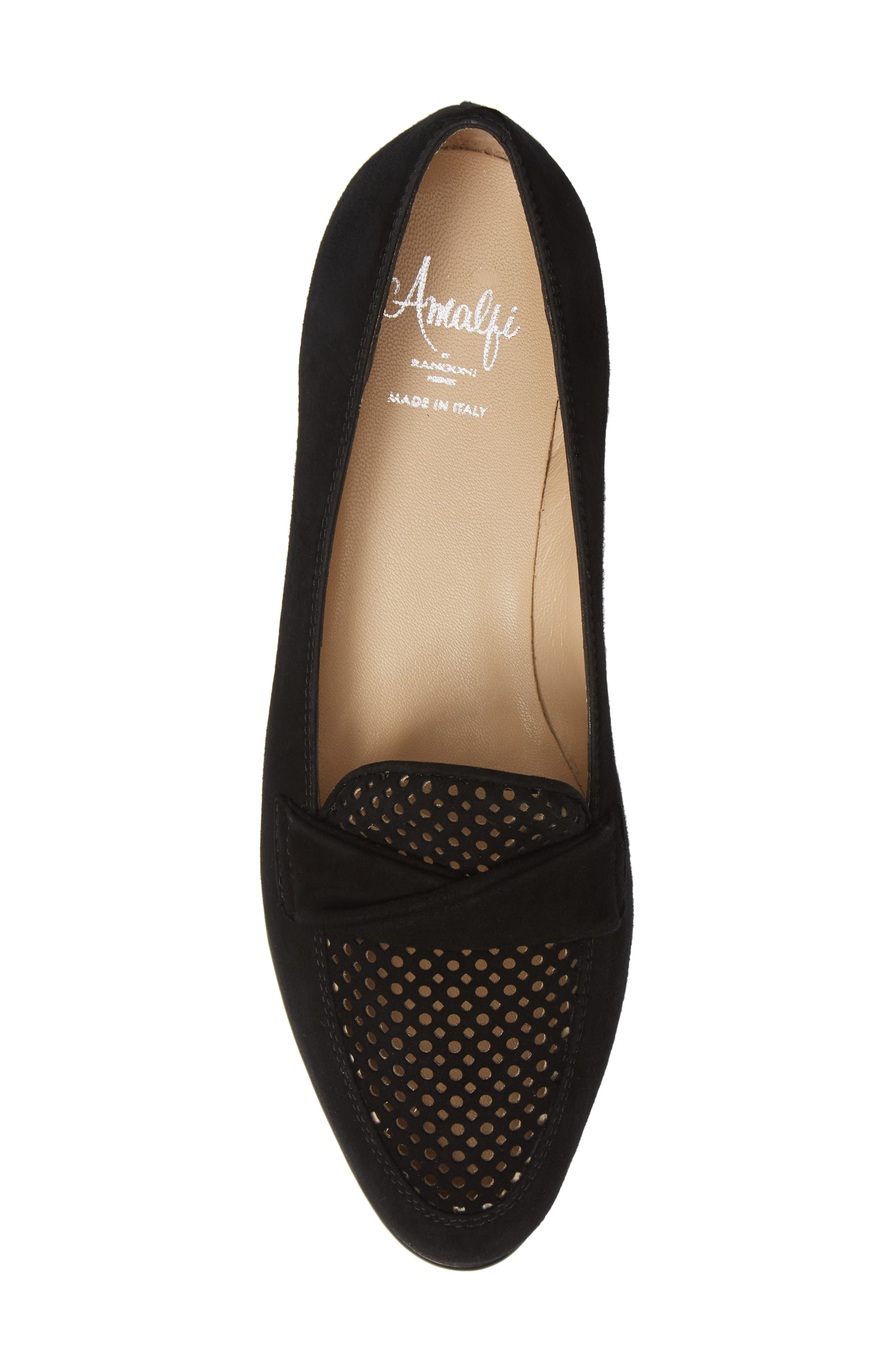 AMALFI BY RANGONI,                             Osimo X Perforated Loafer,                             Alternate thumbnail 5, color,                             BLACK SUEDE