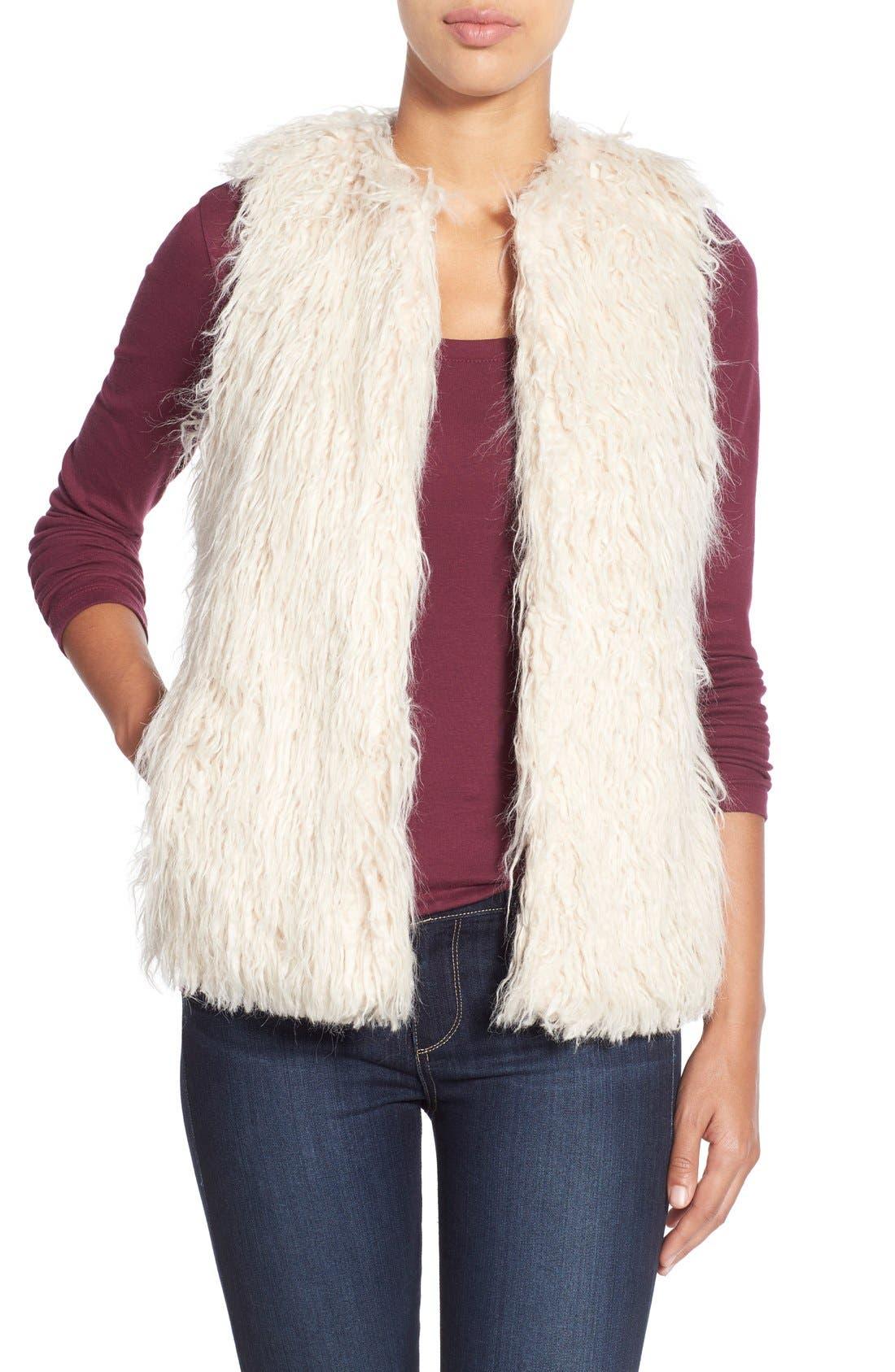 Shaggy Faux Fur Vest,                             Main thumbnail 1, color,                             299