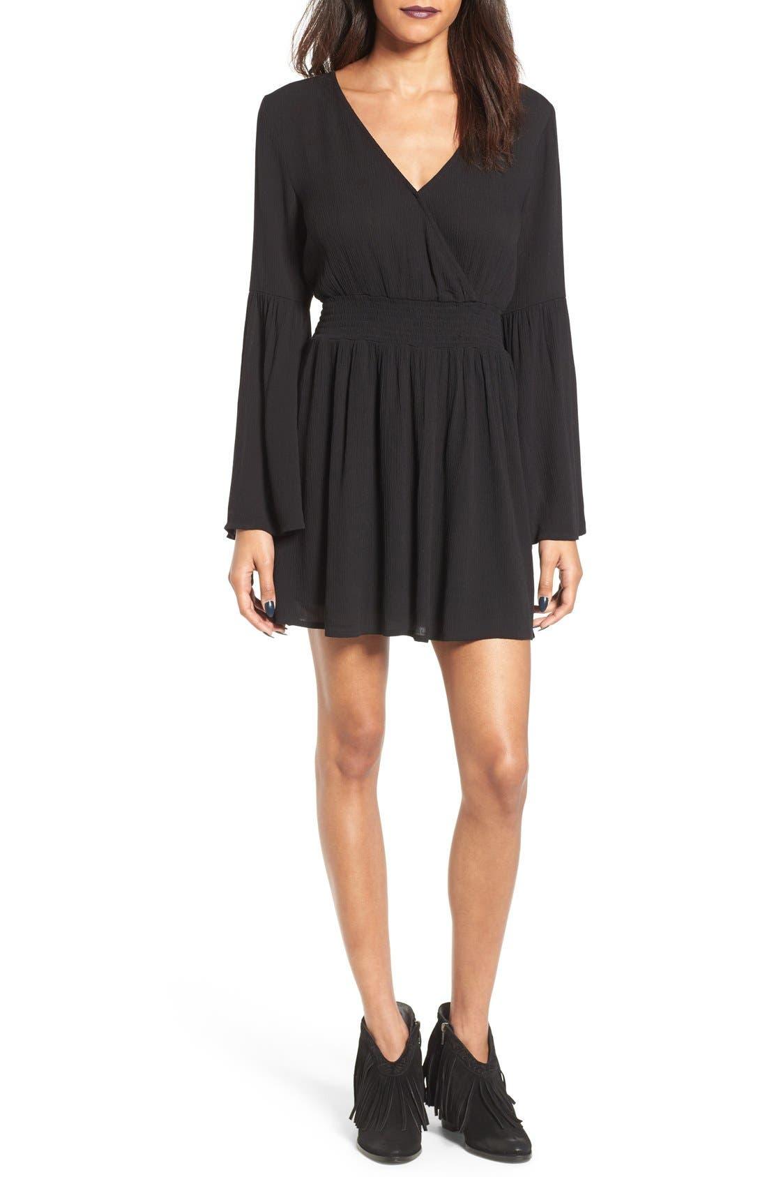 Surplice Bell Sleeve Dress,                         Main,                         color,