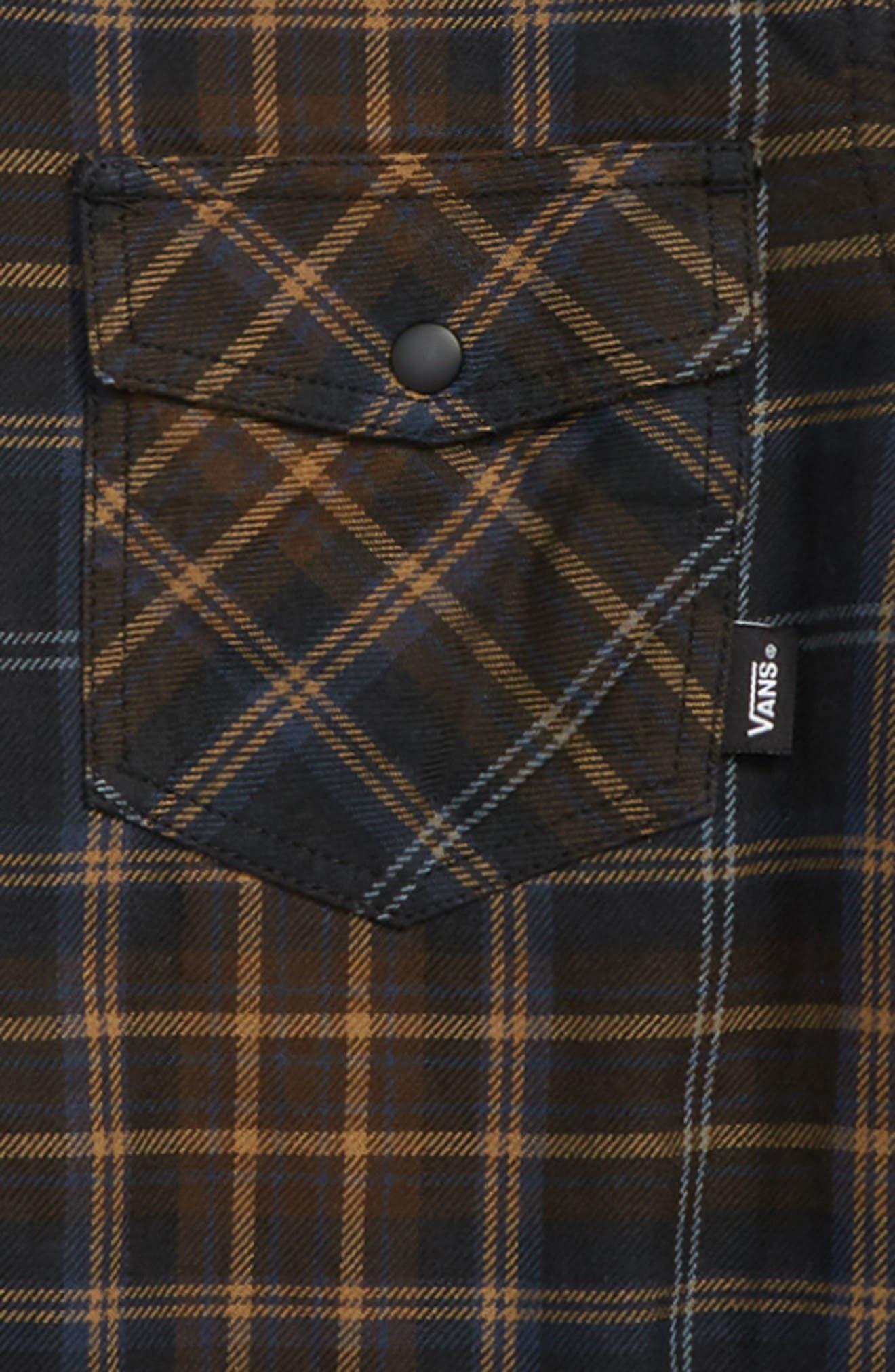 Higgins Zip Flannel Shirt,                             Alternate thumbnail 2, color,                             BLACK DEMITASSE