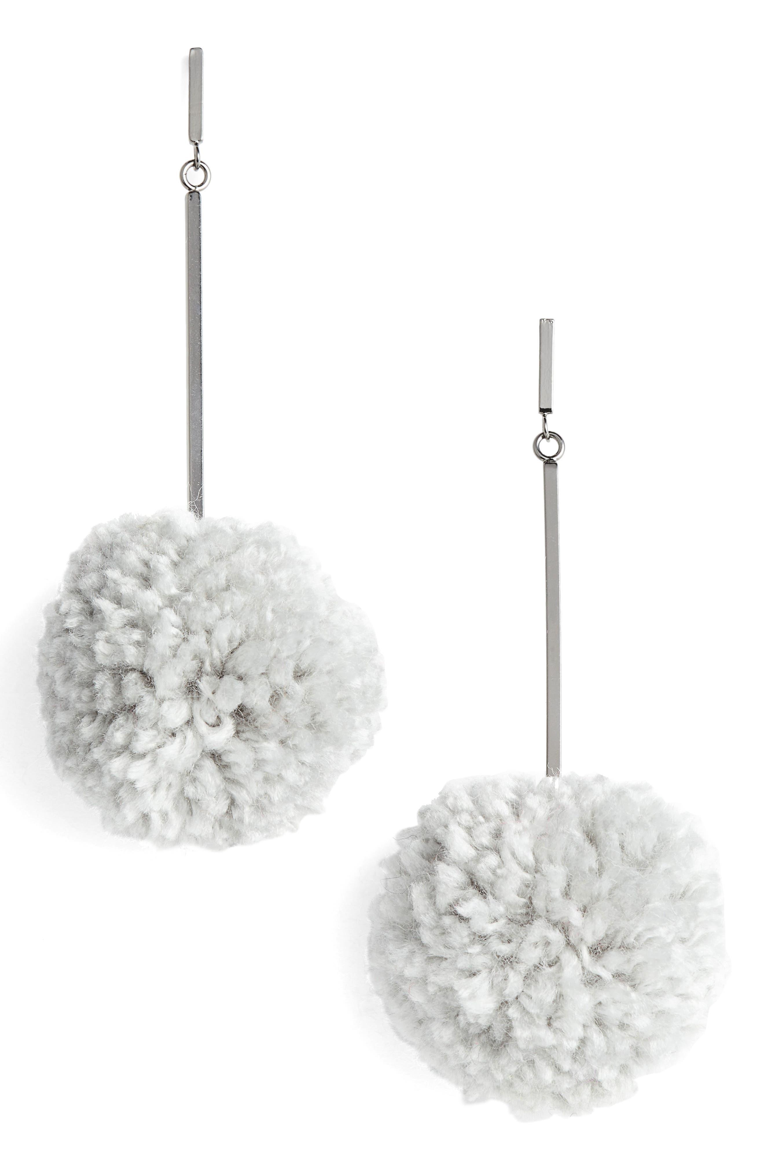 Pompom Drop Earrings,                         Main,                         color, 020