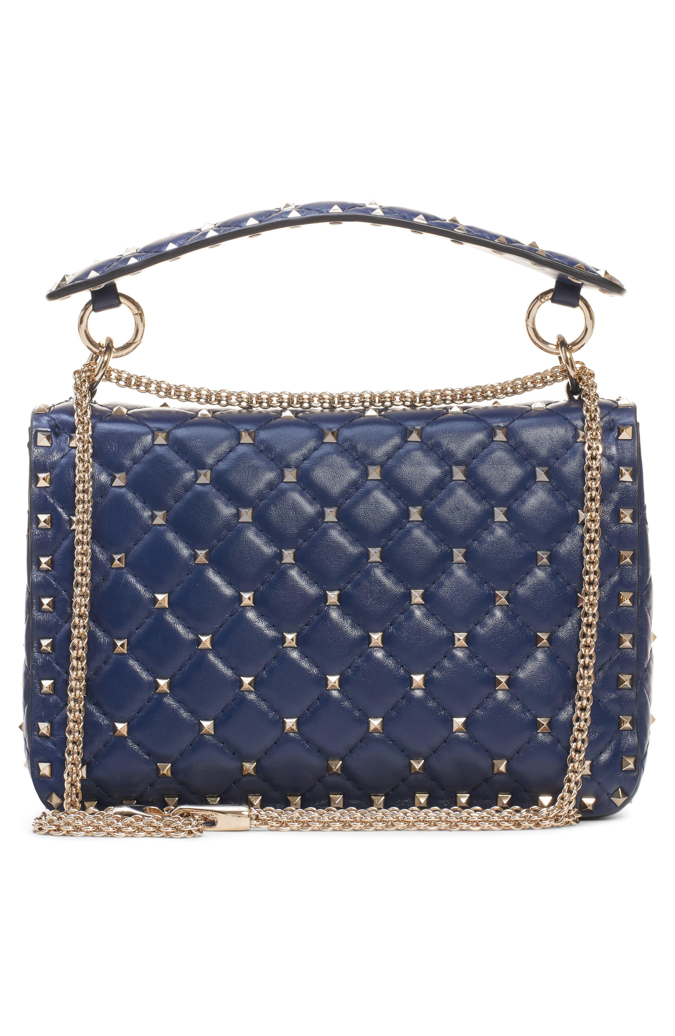 Medium Spike.It VLTN Logo Leather Shoulder Bag,                             Alternate thumbnail 3, color,                             PURE BLUE/ BIANCO OTTICO