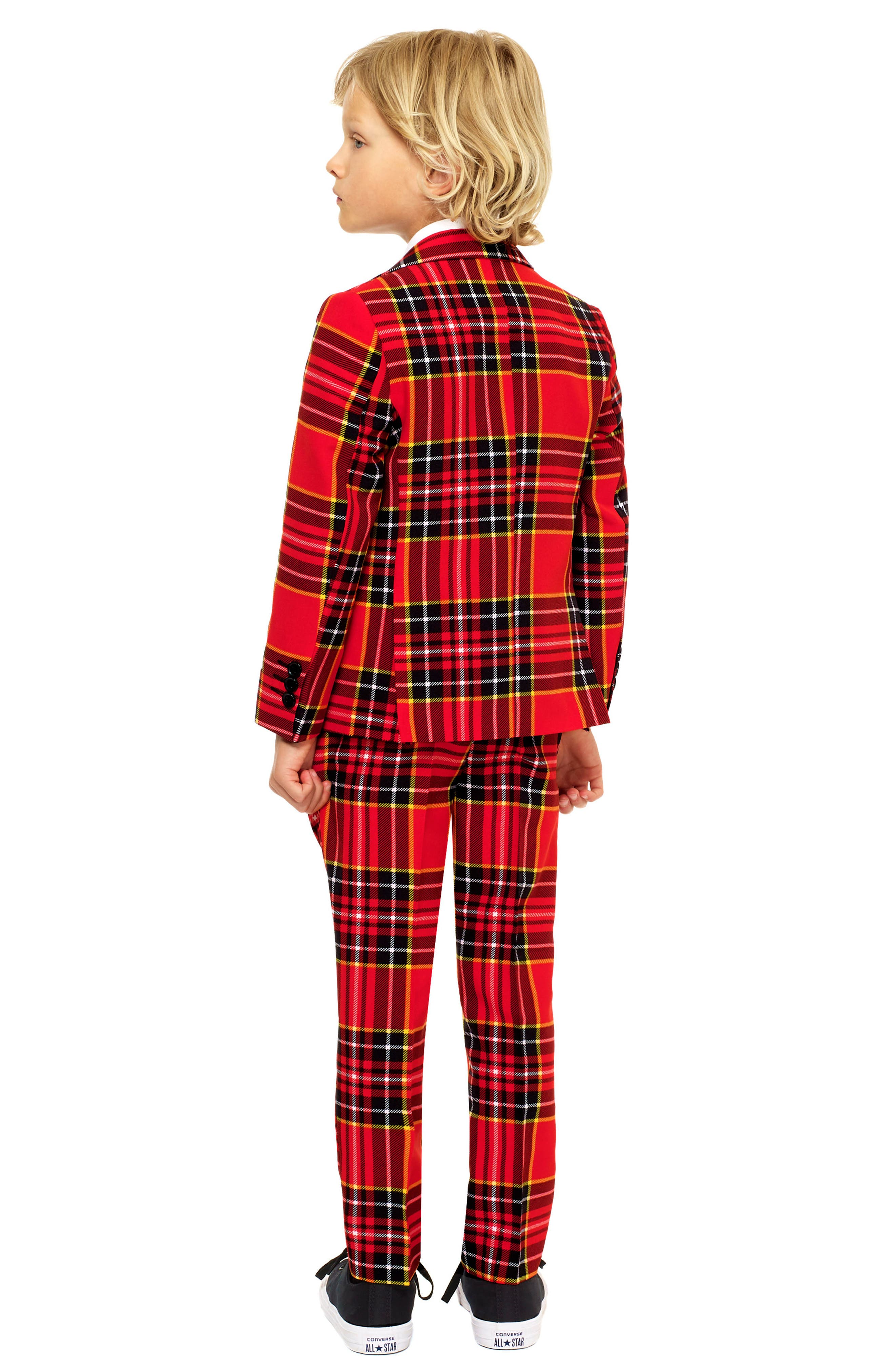 Lumberjack Two-Piece Suit with Tie,                             Alternate thumbnail 2, color,                             RED