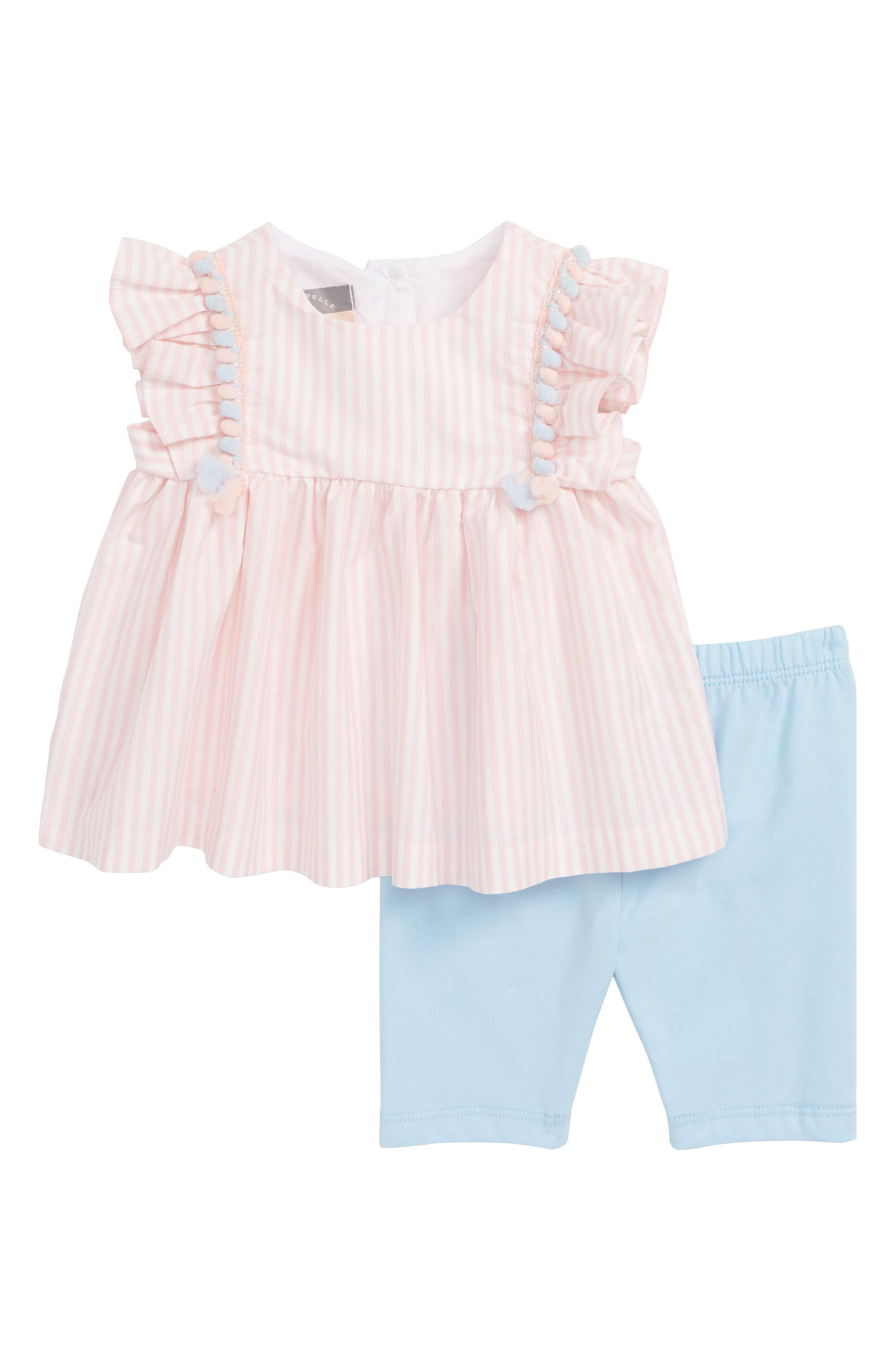 Flutter Sleeve Top & Crop Leggings Set, Main, color, PINK/ BLUE
