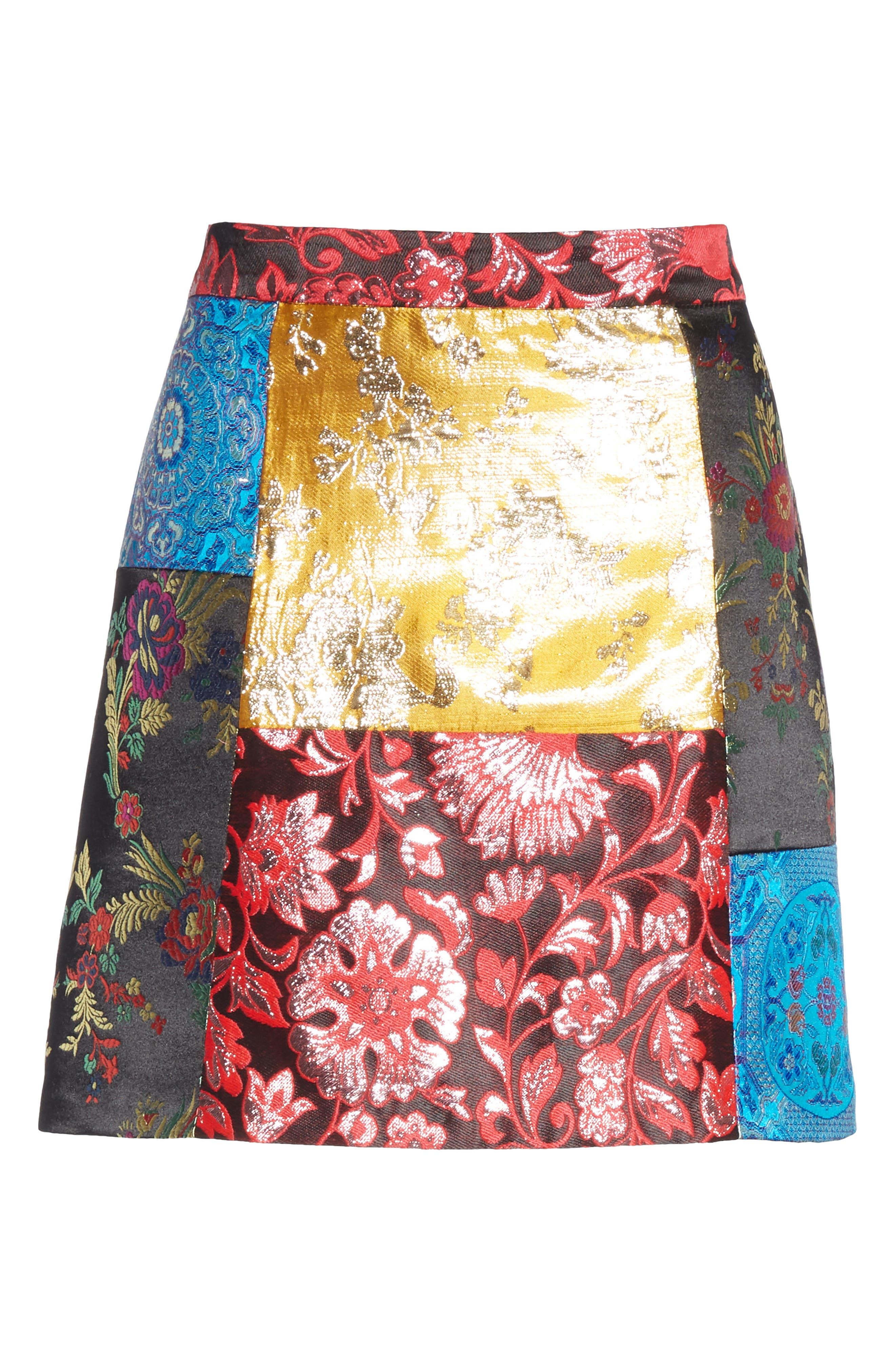 Riley Patchwork Miniskirt,                             Alternate thumbnail 6, color,                             BLACK MULTI