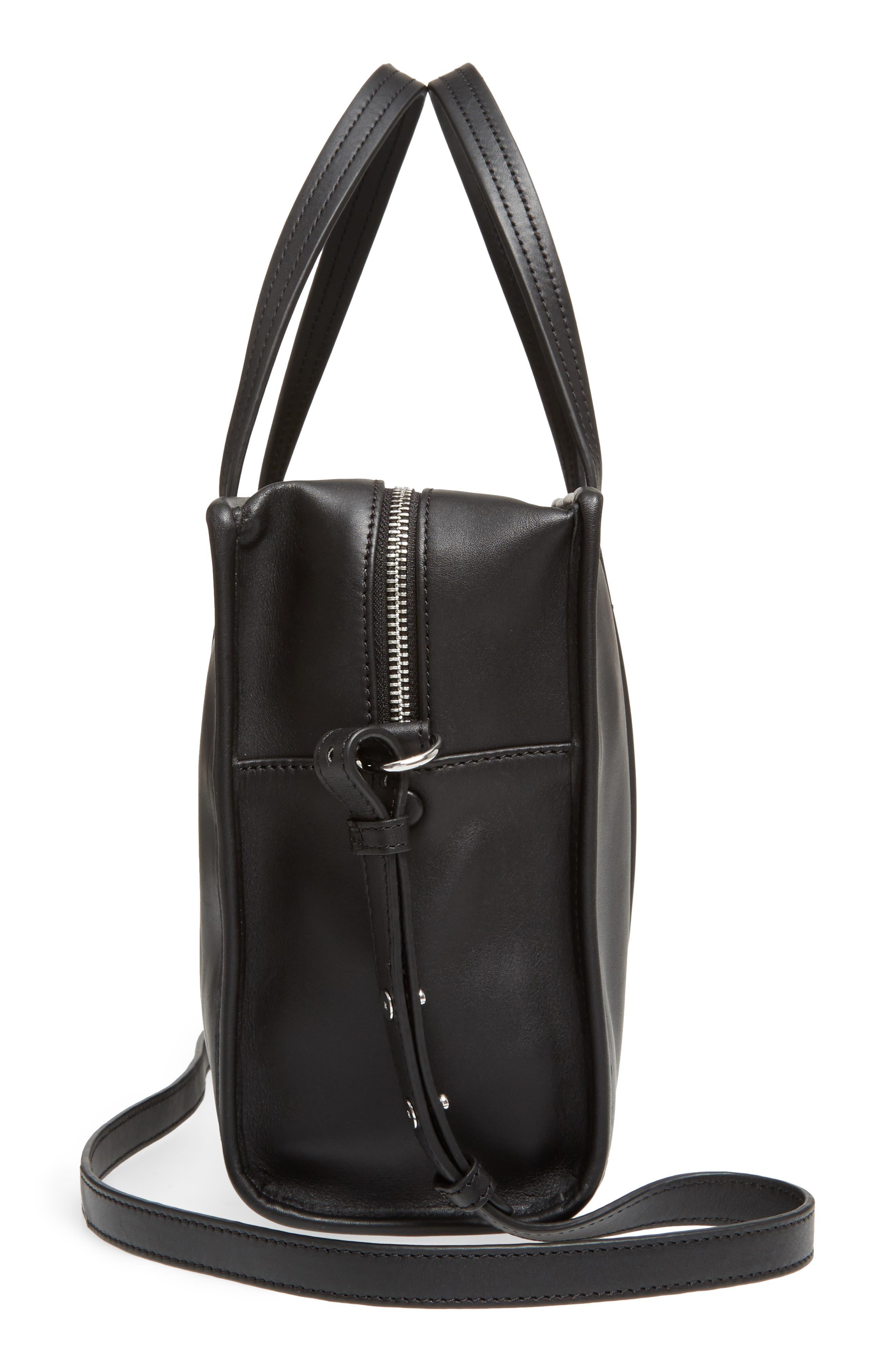 Large Simone Calfskin Leather Satchel,                             Alternate thumbnail 5, color,                             001