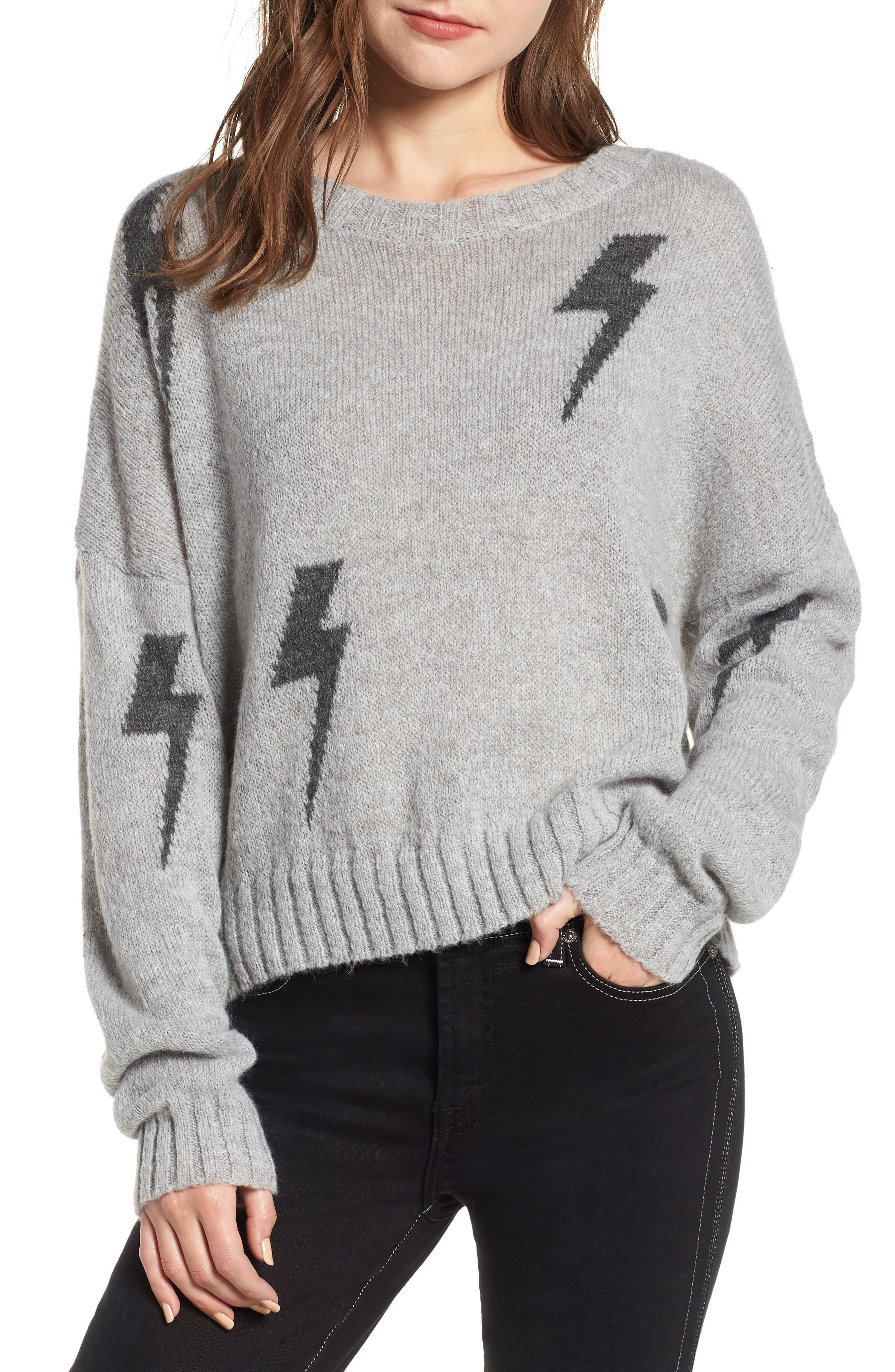 Perci Sweater,                         Main,                         color, GREY/CHARCOAL LIGHTNING