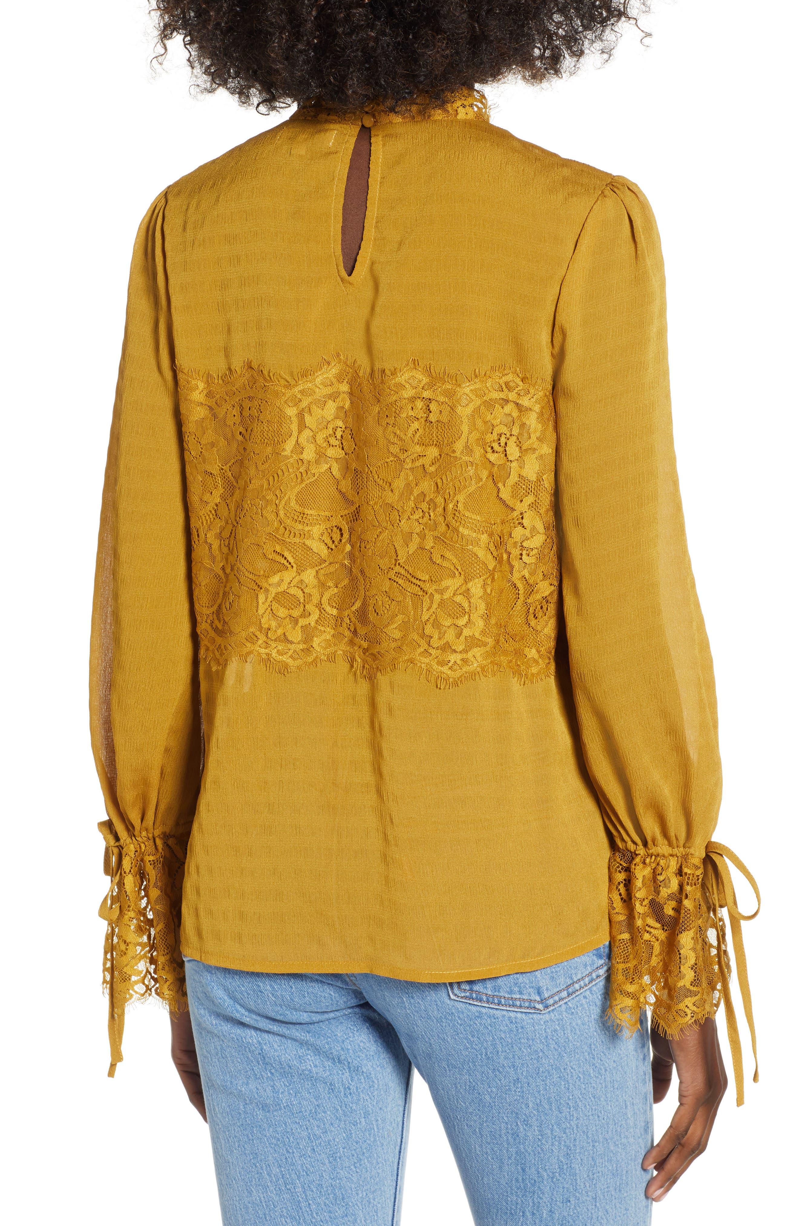 Lace Panel Blouse,                             Alternate thumbnail 2, color,                             GOLDEN ROD