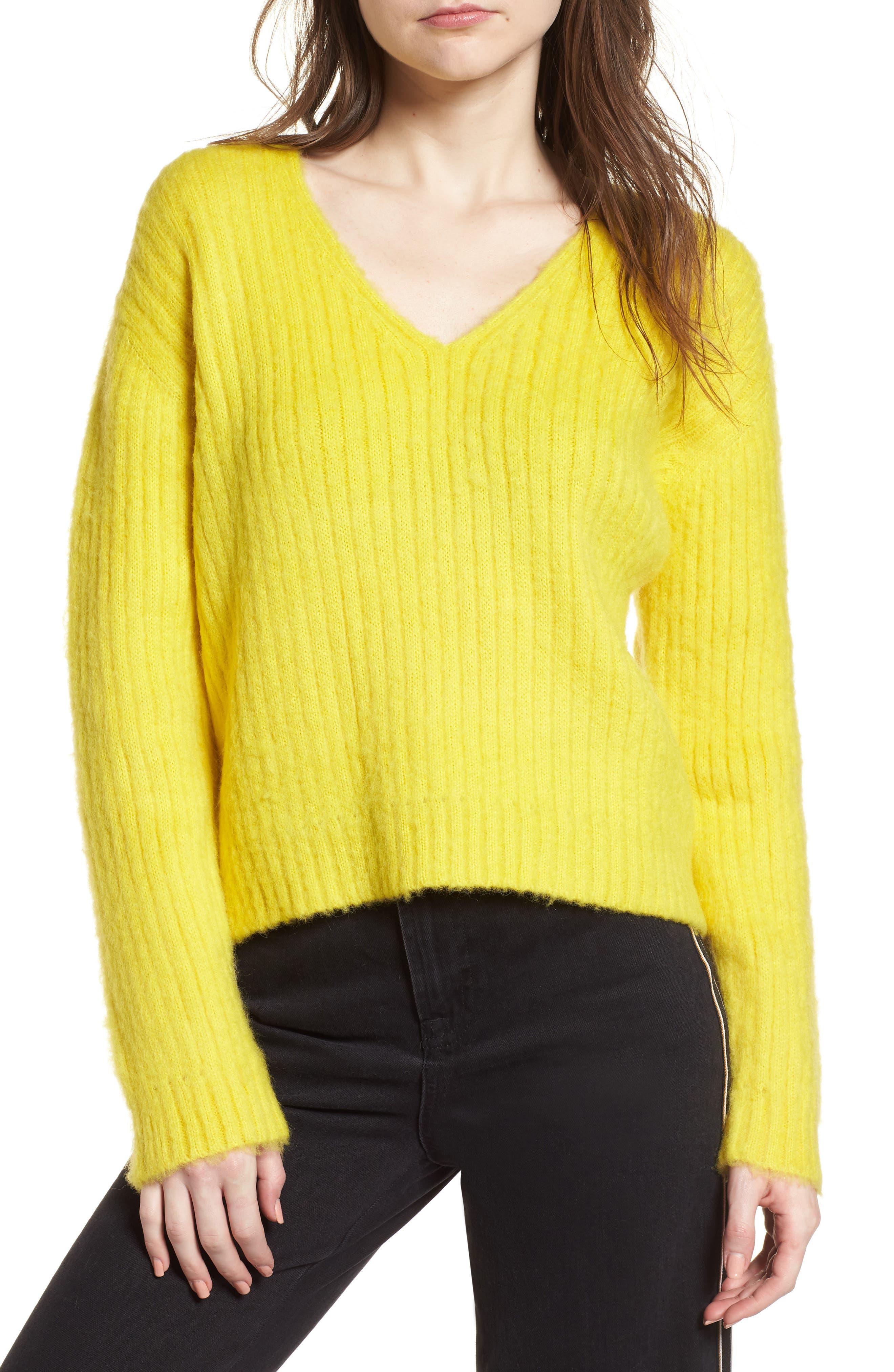 V-Neck Rib Sweater,                             Main thumbnail 1, color,                             700