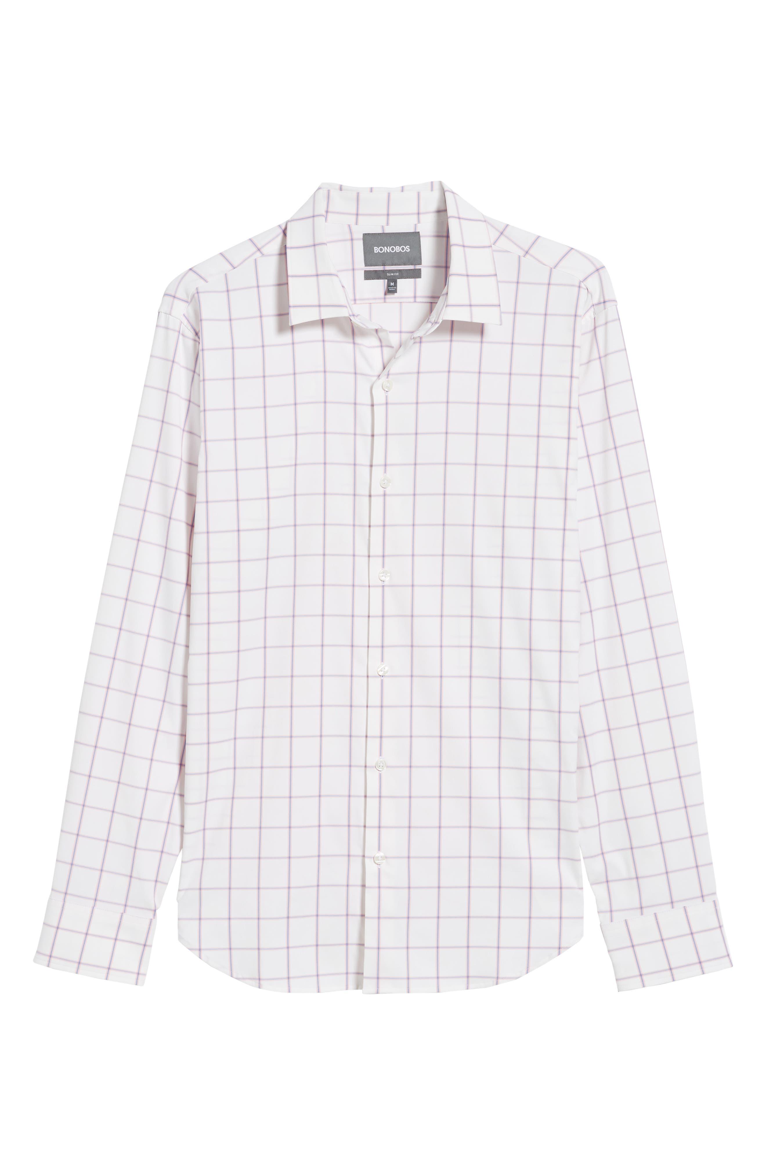 Slim Fit Check Performance Sport Shirt,                             Alternate thumbnail 6, color,                             100