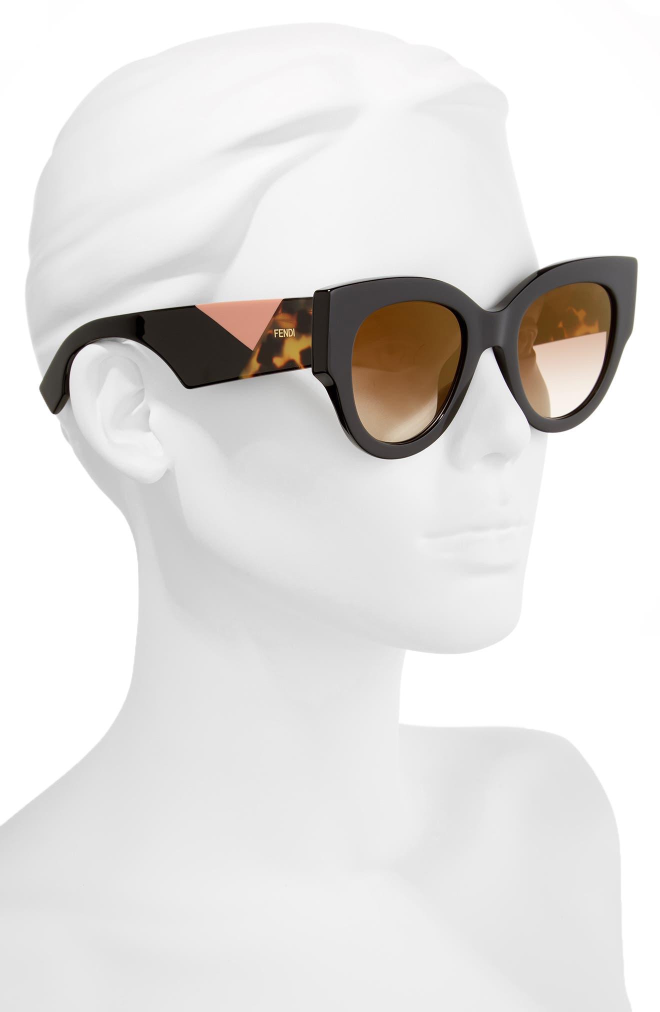 51mm Cat Eye Sunglasses,                             Alternate thumbnail 2, color,                             001