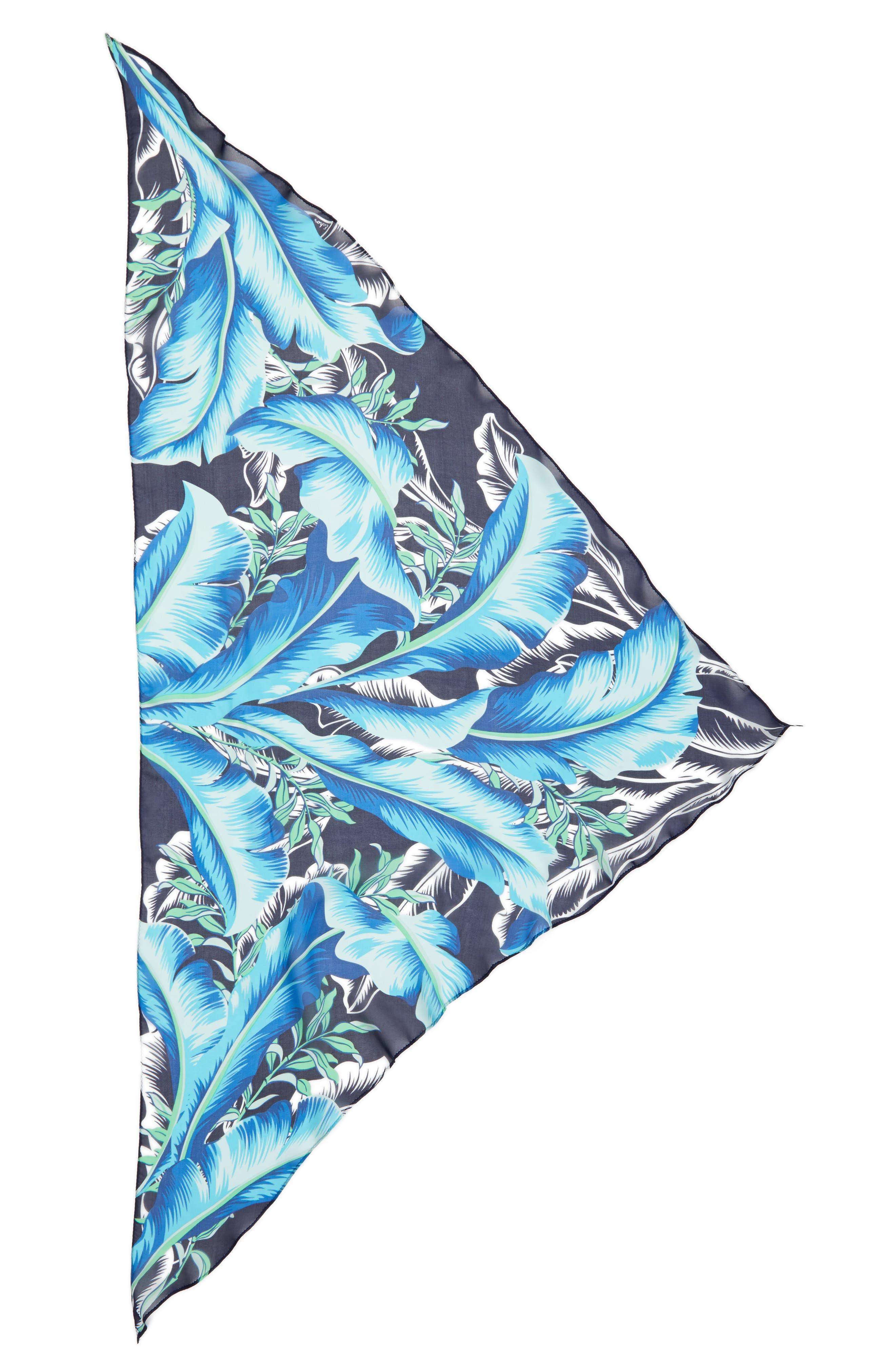 Palm Print Silk Triangle Scarf,                             Alternate thumbnail 3, color,                             400