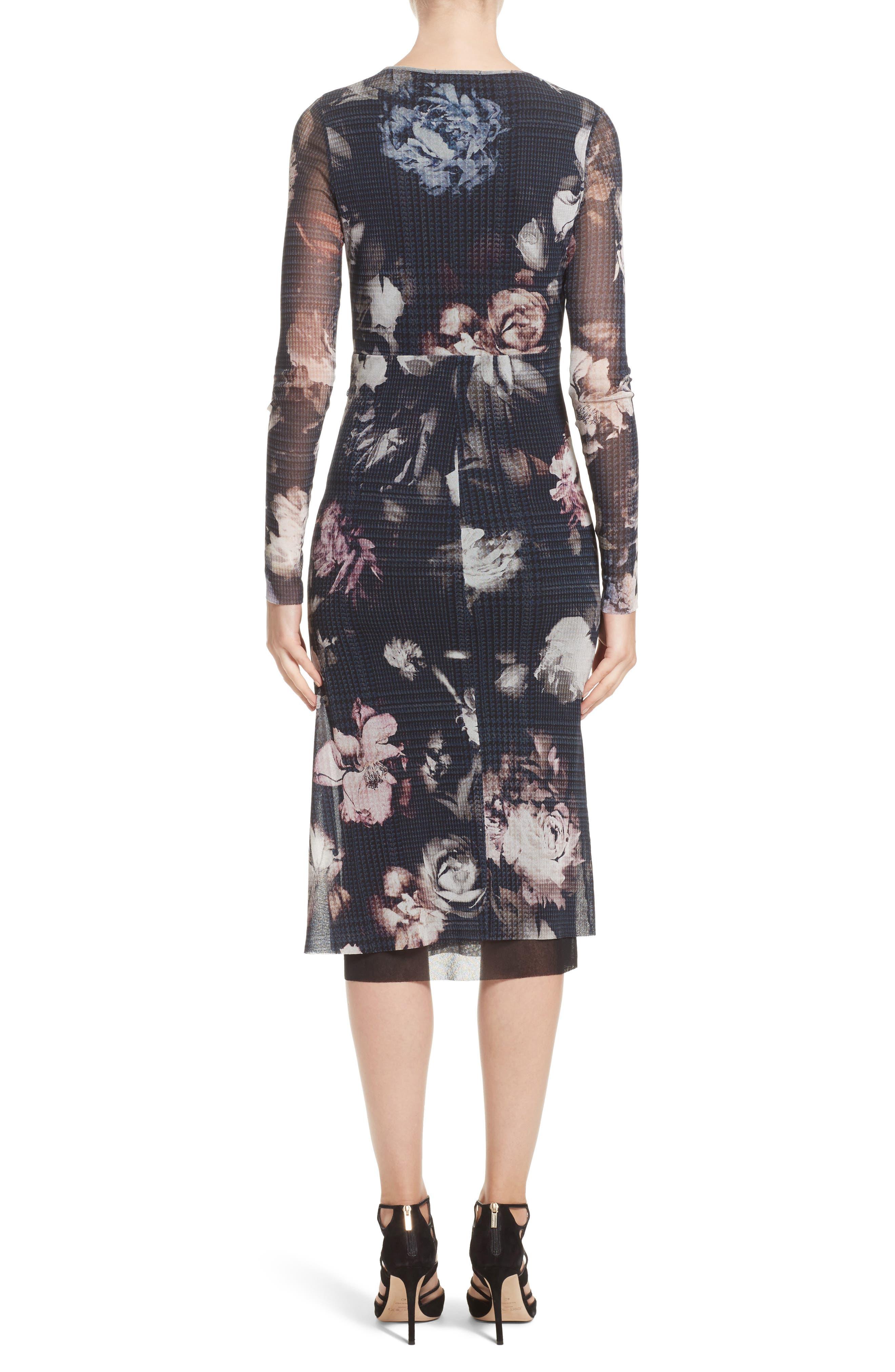 Floral Print Tulle Keyhole Dress,                             Alternate thumbnail 2, color,                             001