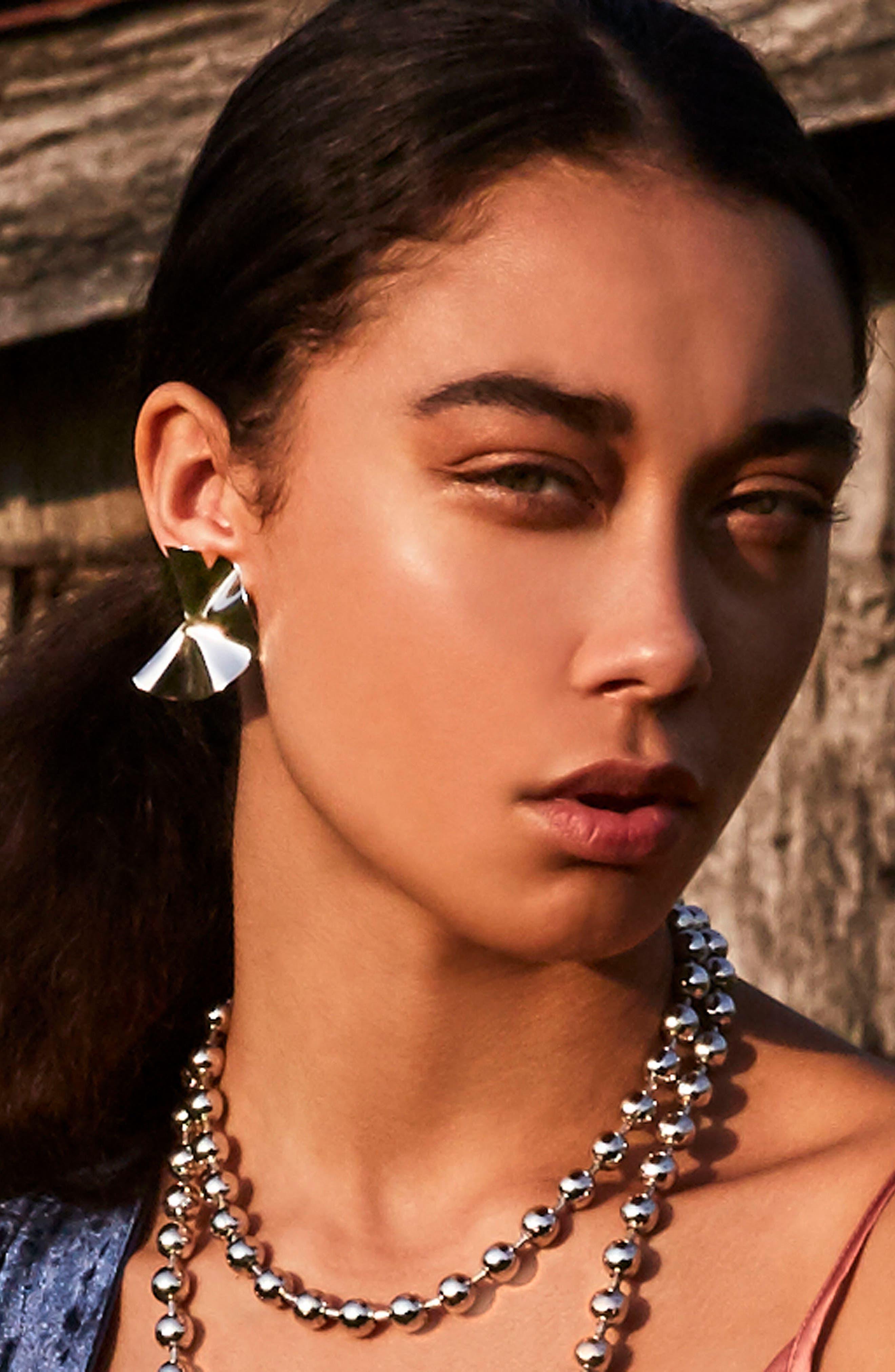 Liquid Petal Stud Earrings,                             Alternate thumbnail 3, color,                             SILVER