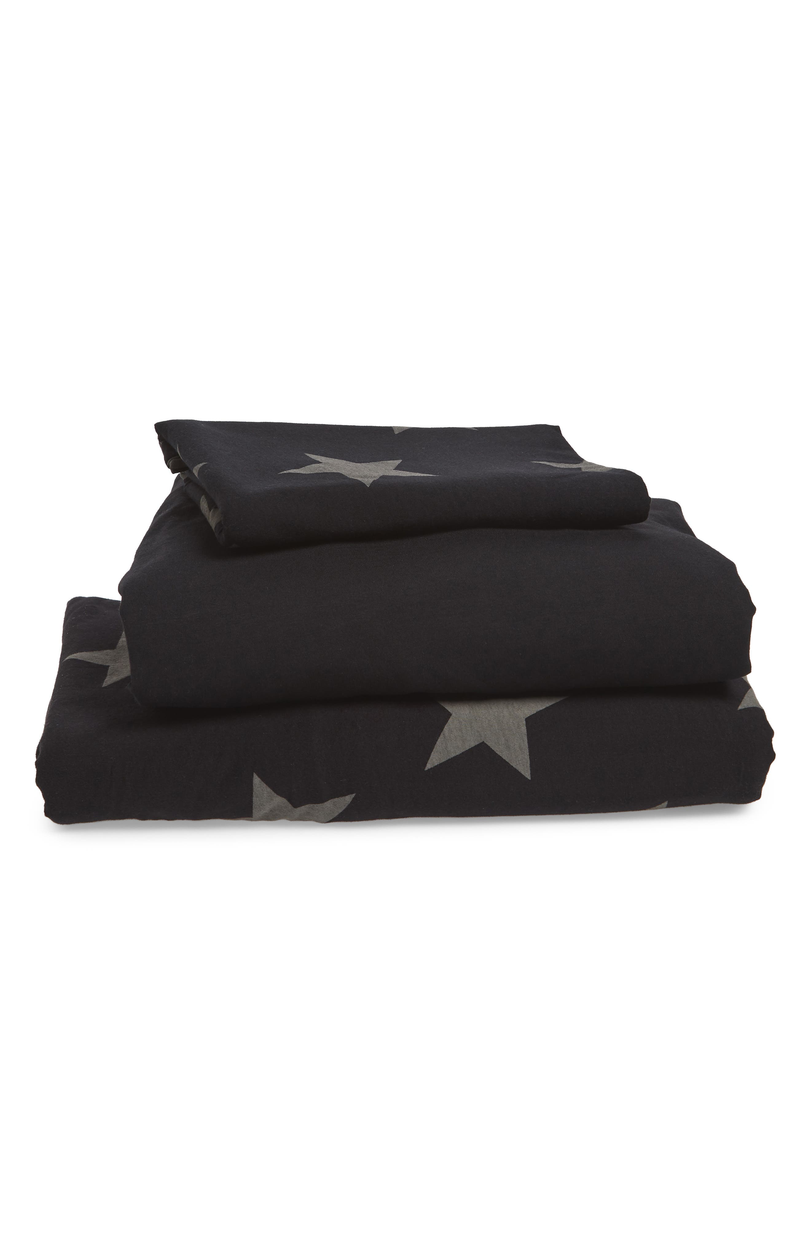 Star Duvet Cover & Sheet Set,                         Main,                         color, BLACK