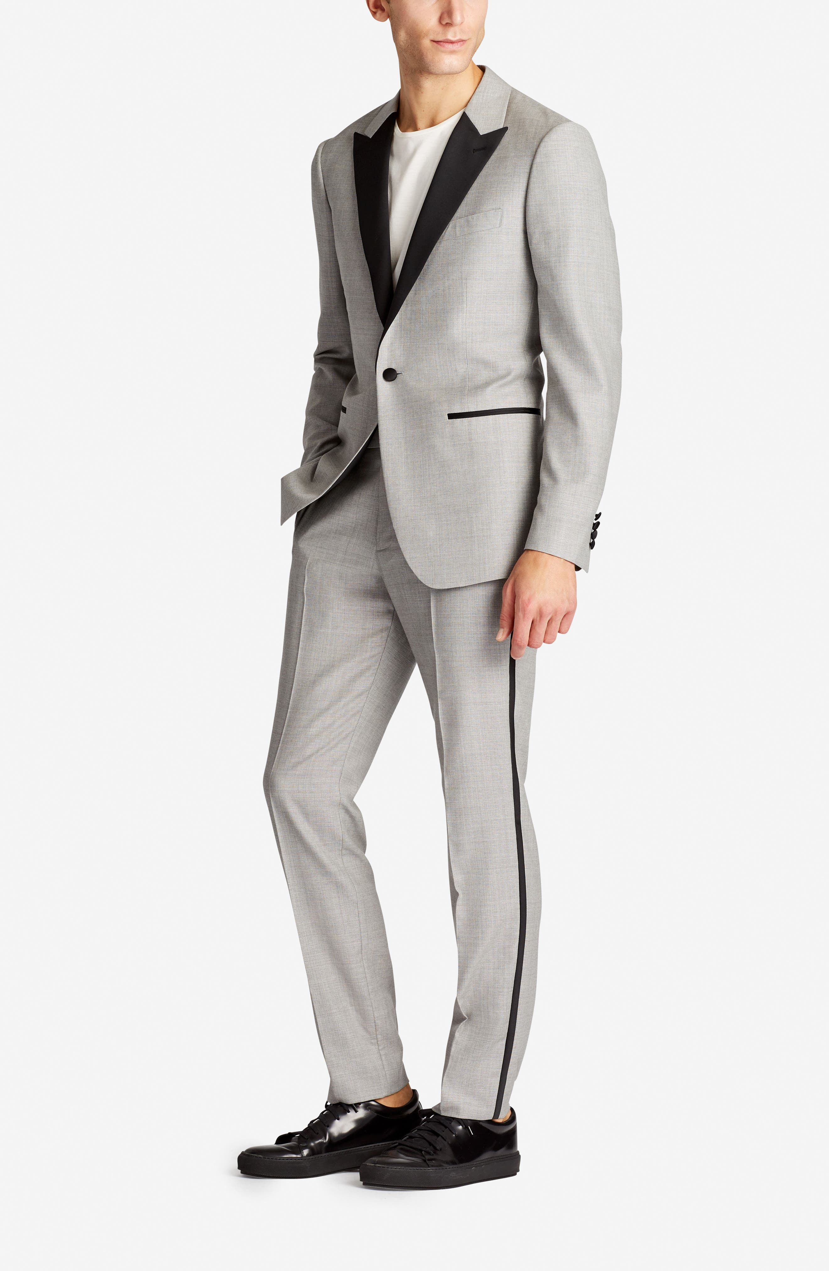 Capstone Flat Front Tuxedo Trousers,                             Alternate thumbnail 5, color,                             020