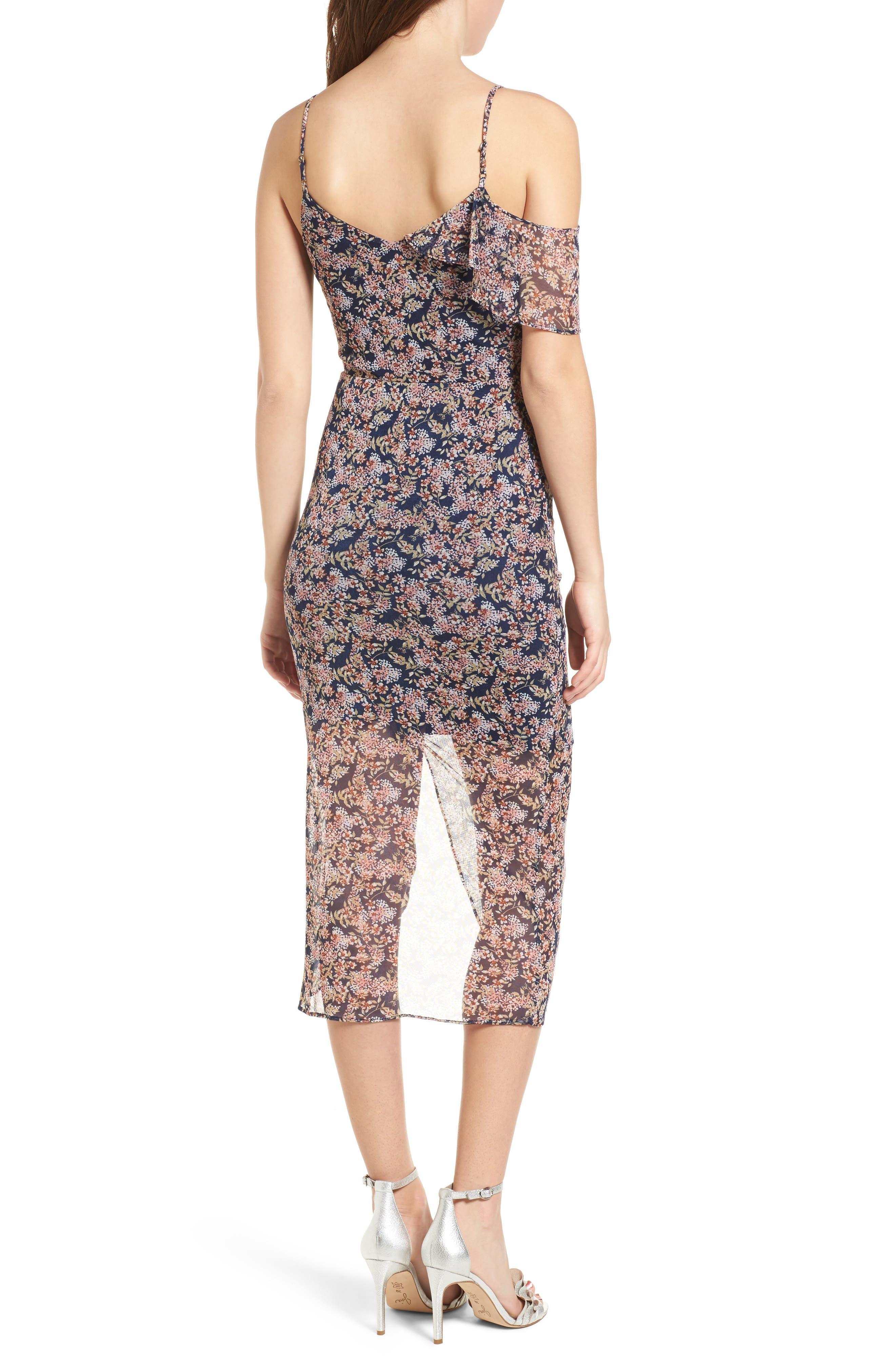 Cold Shoulder Ruffle Mesh Dress,                             Alternate thumbnail 2, color,                             410