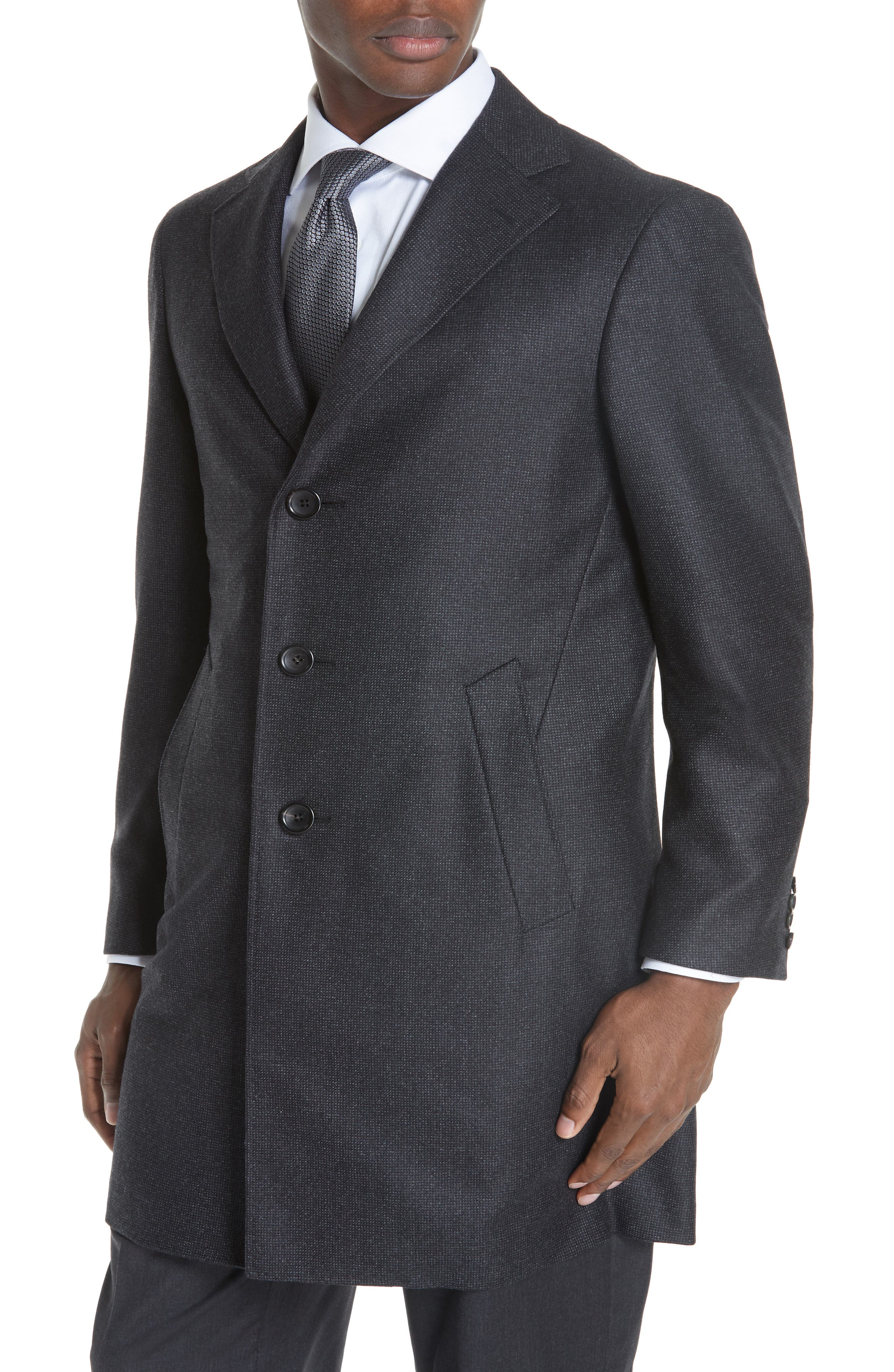 Solid Wool Top Coat,                             Alternate thumbnail 4, color,                             CHARCOAL