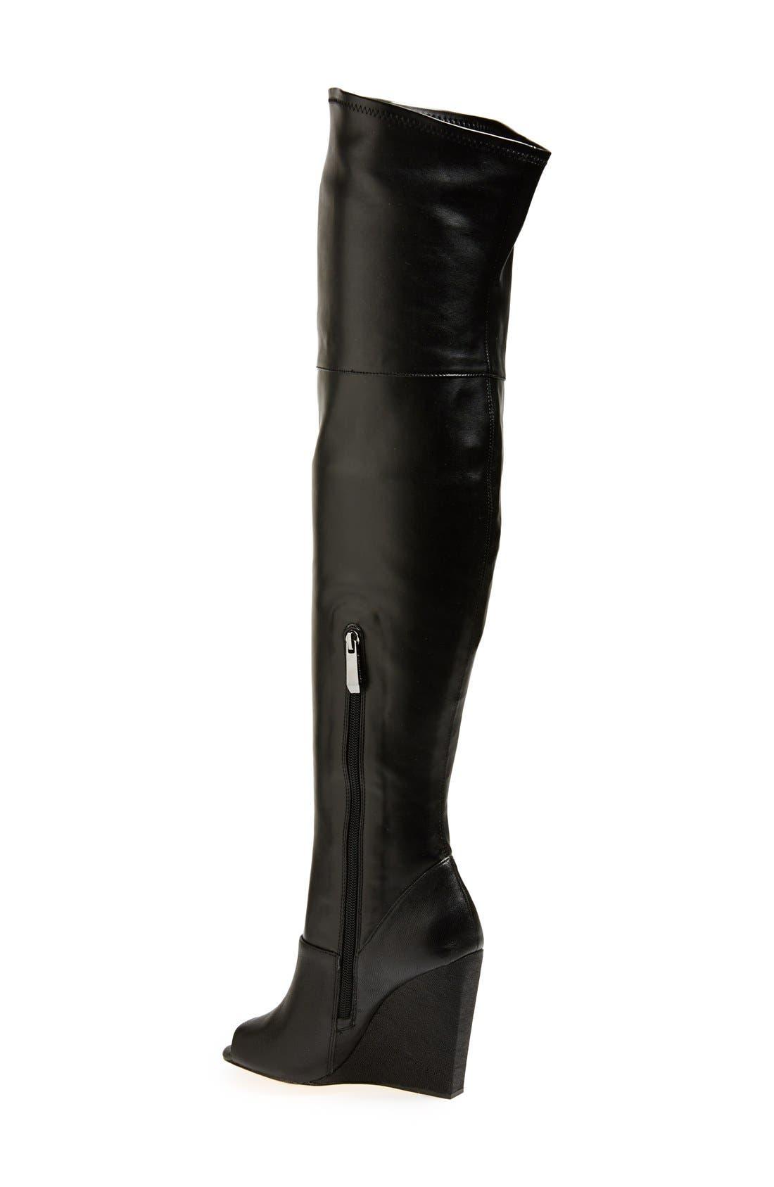 BCBGMAXAZRIA,                             'Deanna' Over the Knee Leather Peep Toe Boot,                             Alternate thumbnail 4, color,                             001