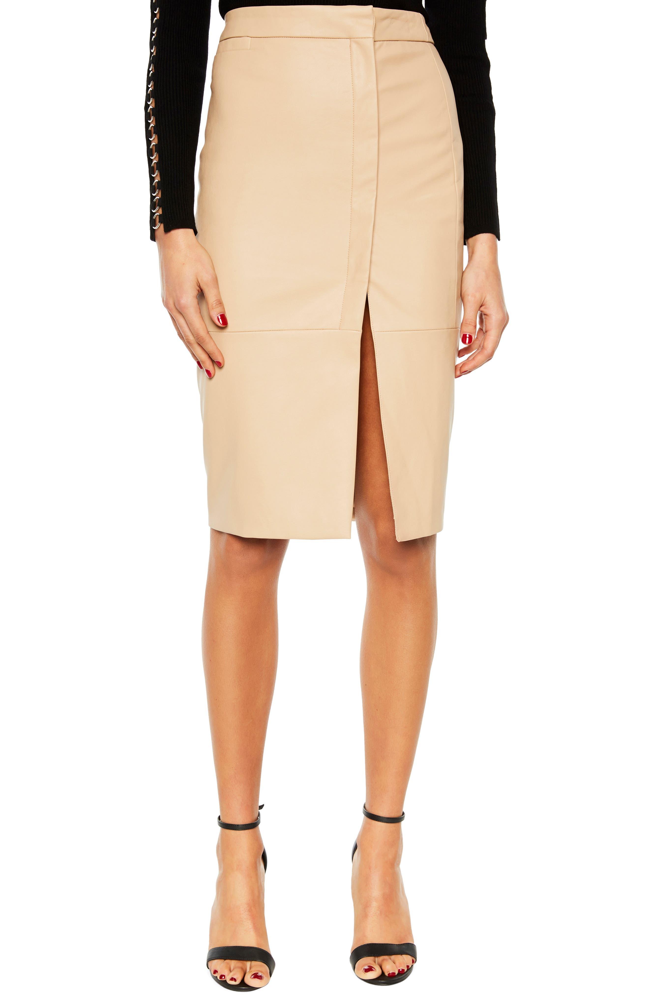 Bardot Dee Faux Leather Pencil Skirt, Beige