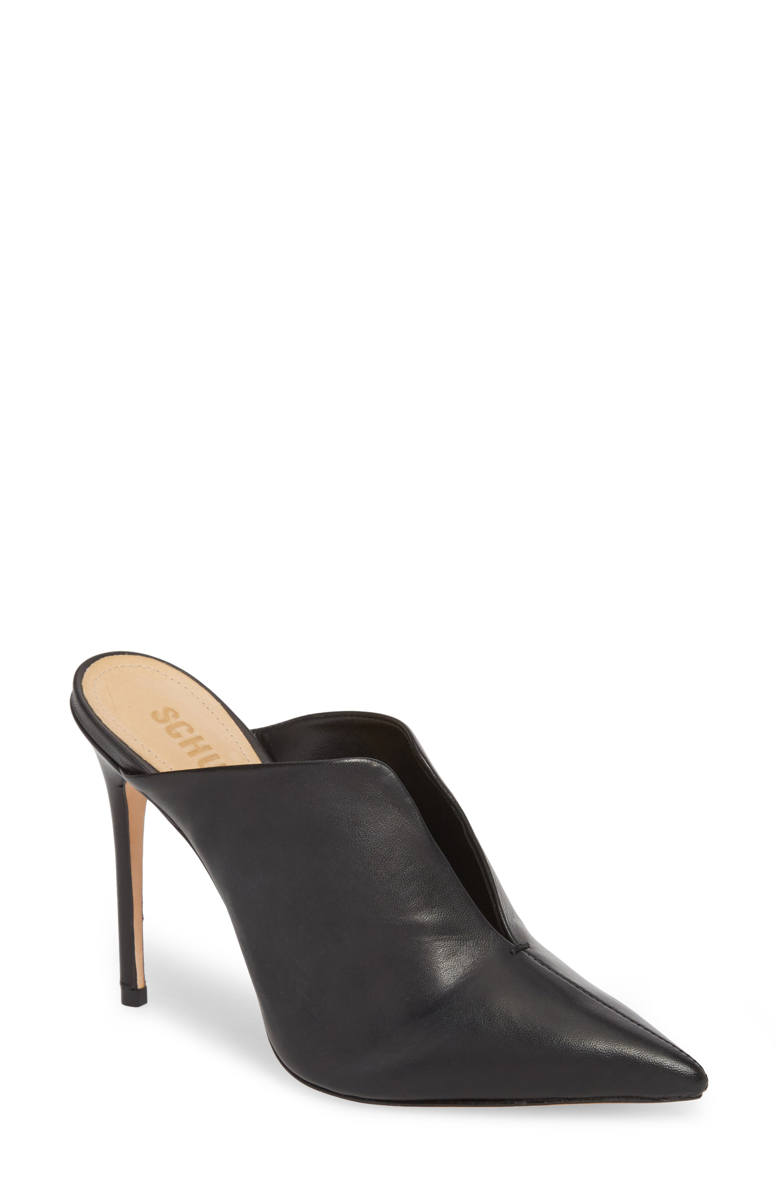 Docia Mule,                         Main,                         color, BLACK LEATHER
