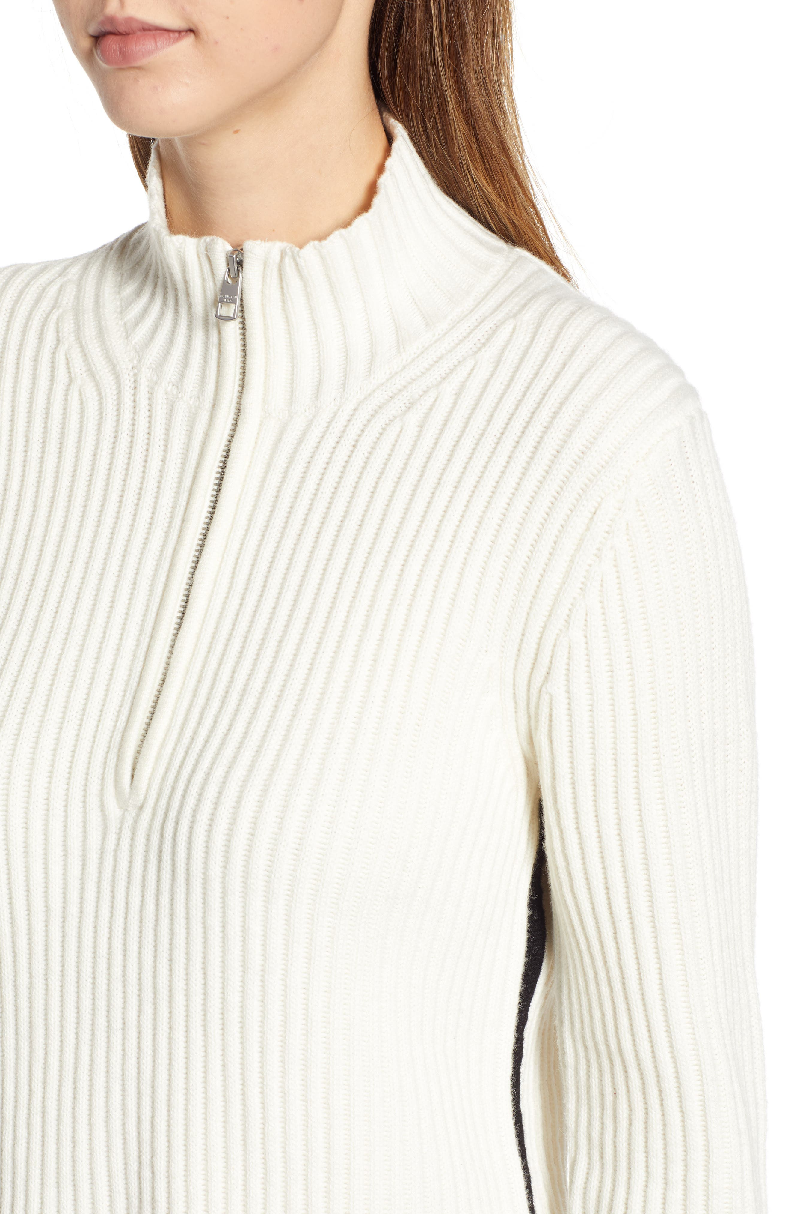 Half Zip Wool Blend Sweater,                             Alternate thumbnail 4, color,                             GREY