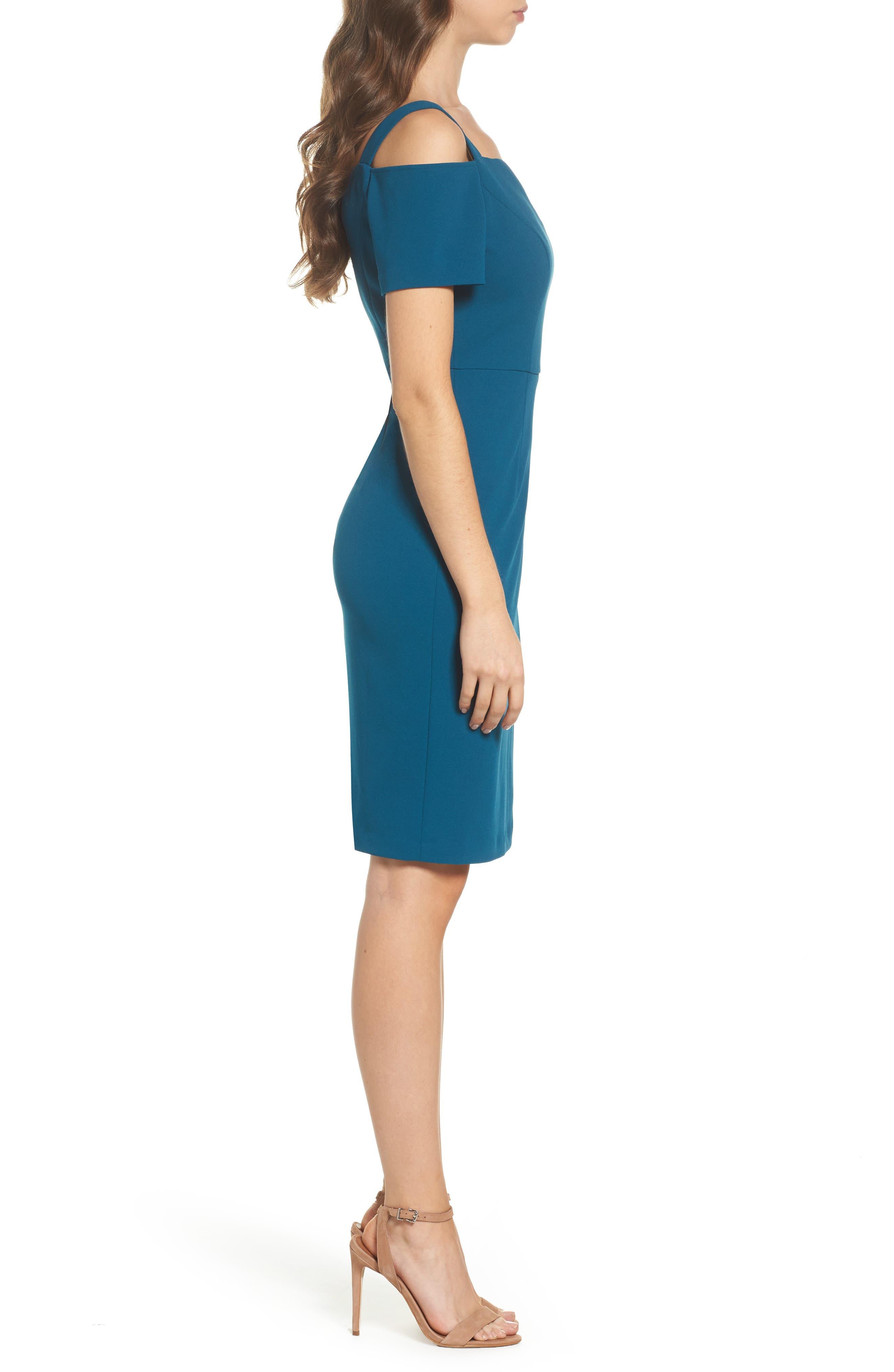 Cold Shoulder Crepe Dress,                             Alternate thumbnail 3, color,                             473