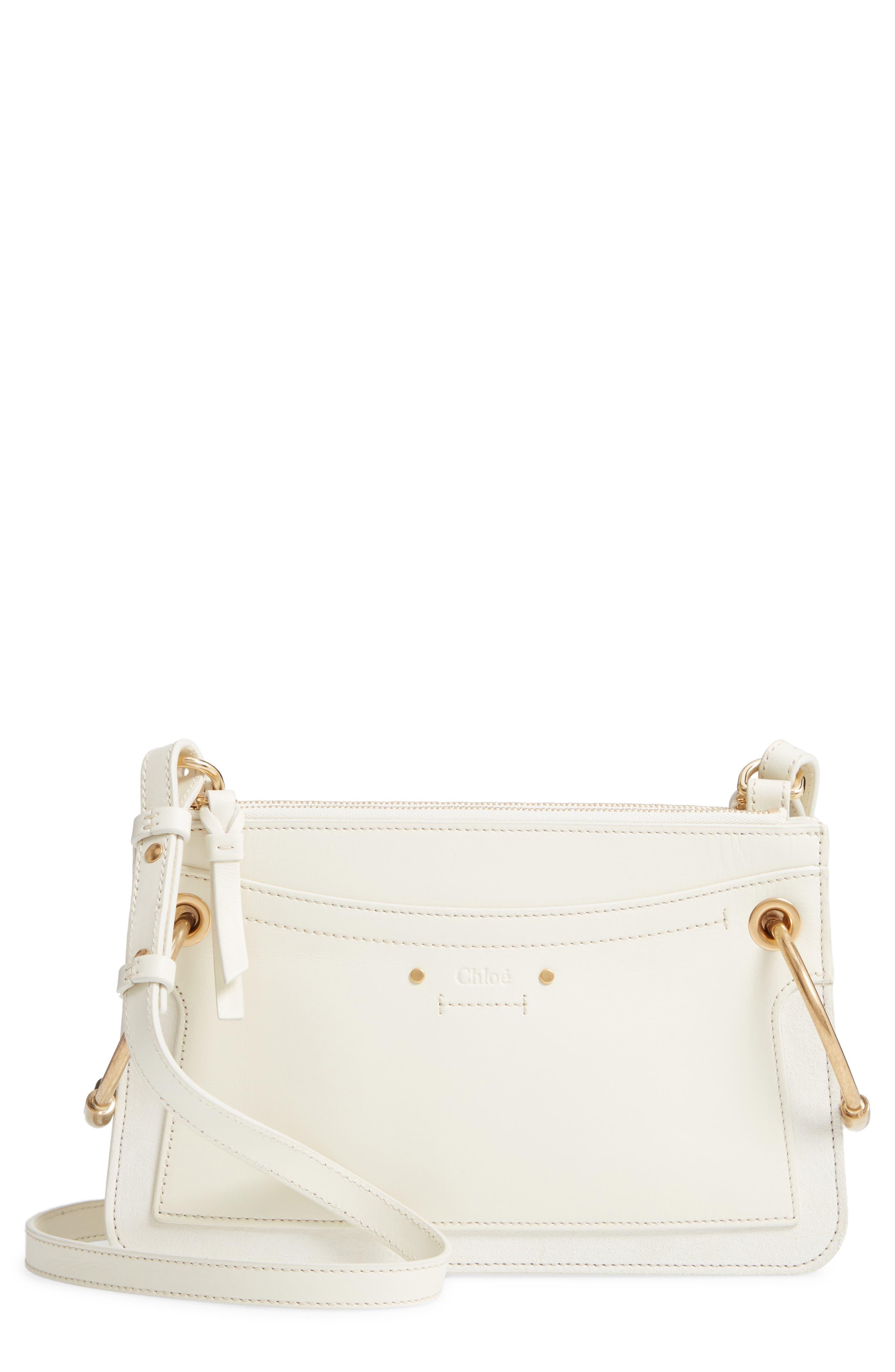 CHLOÉ,                             Small Roy Leather Shoulder Bag,                             Main thumbnail 1, color,                             NATURAL WHITE